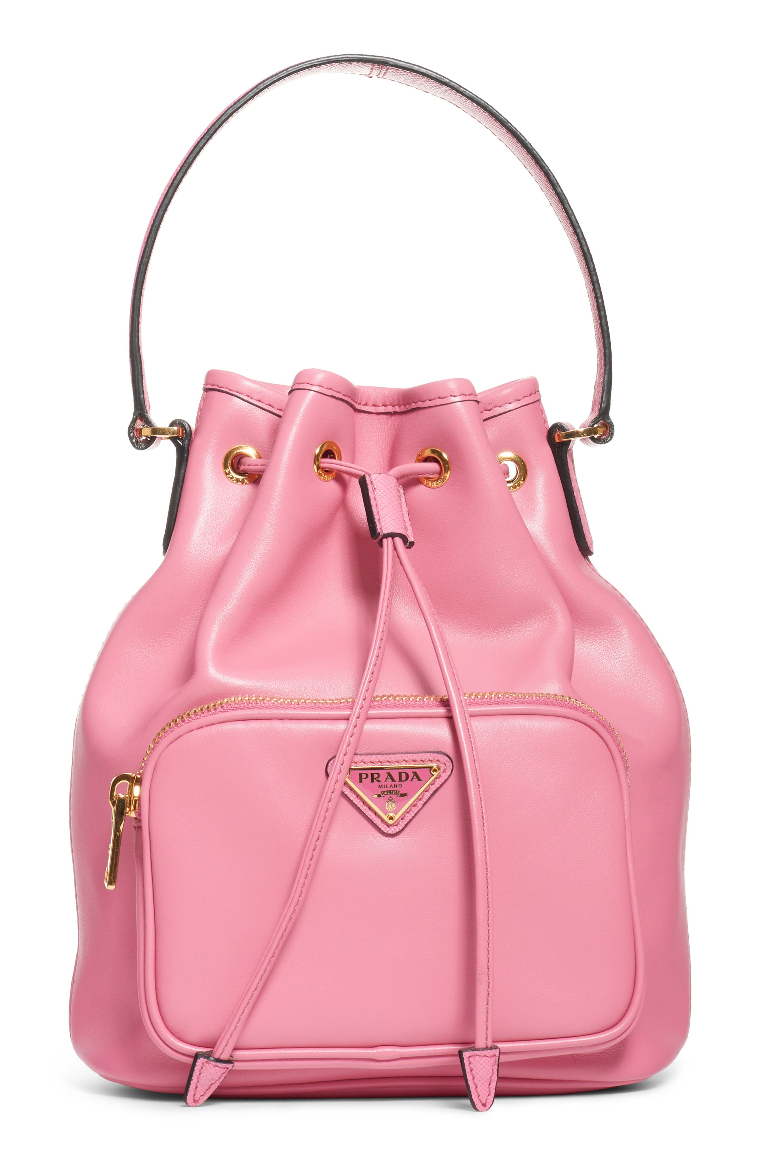 PRADA,                             Leather Bucket Bag,                             Main thumbnail 1, color,                             BEGONIA