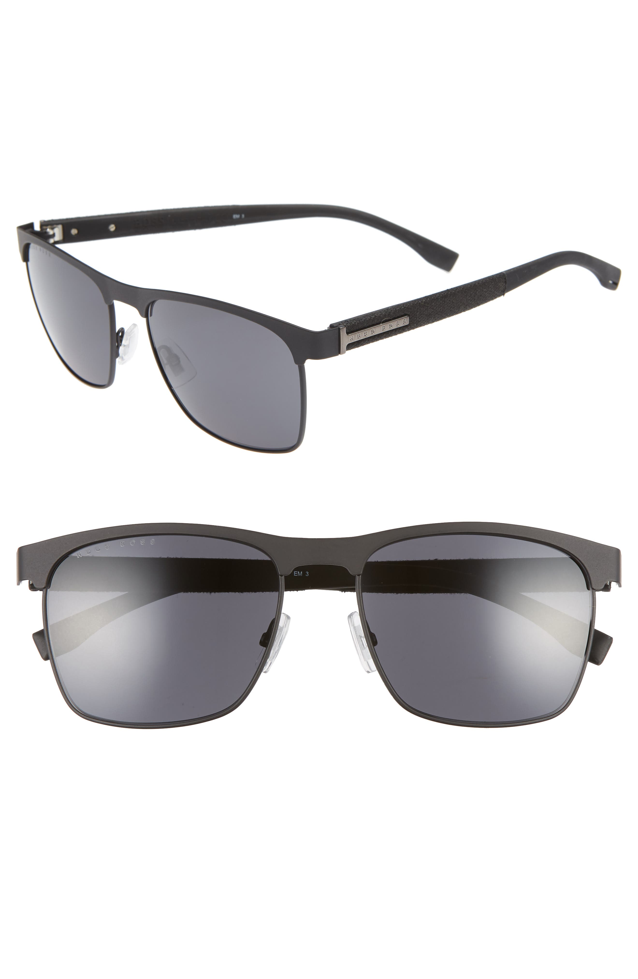 BOSS,                             57mm Rectangle Sunglasses,                             Main thumbnail 1, color,                             MATTE BLACK