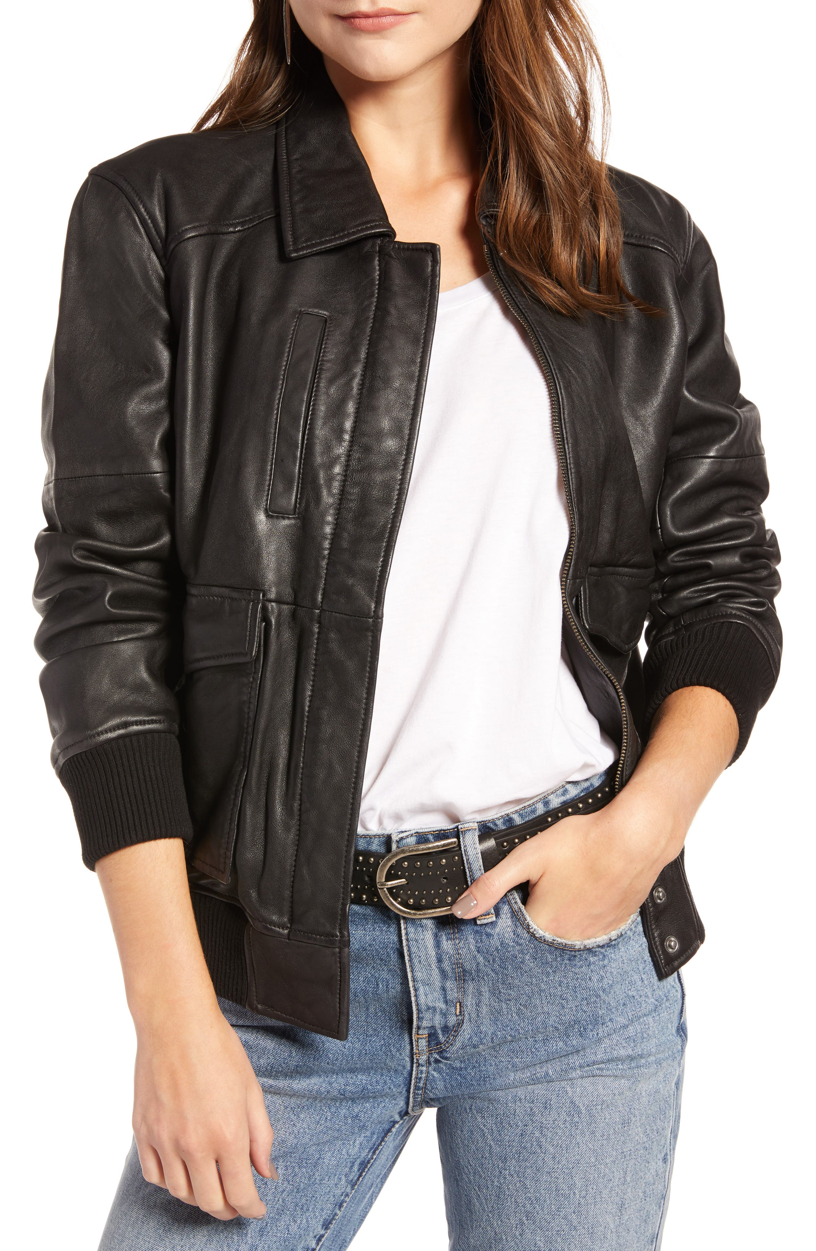 Leather Aviator Jacket,                         Main,                         color, BLACK