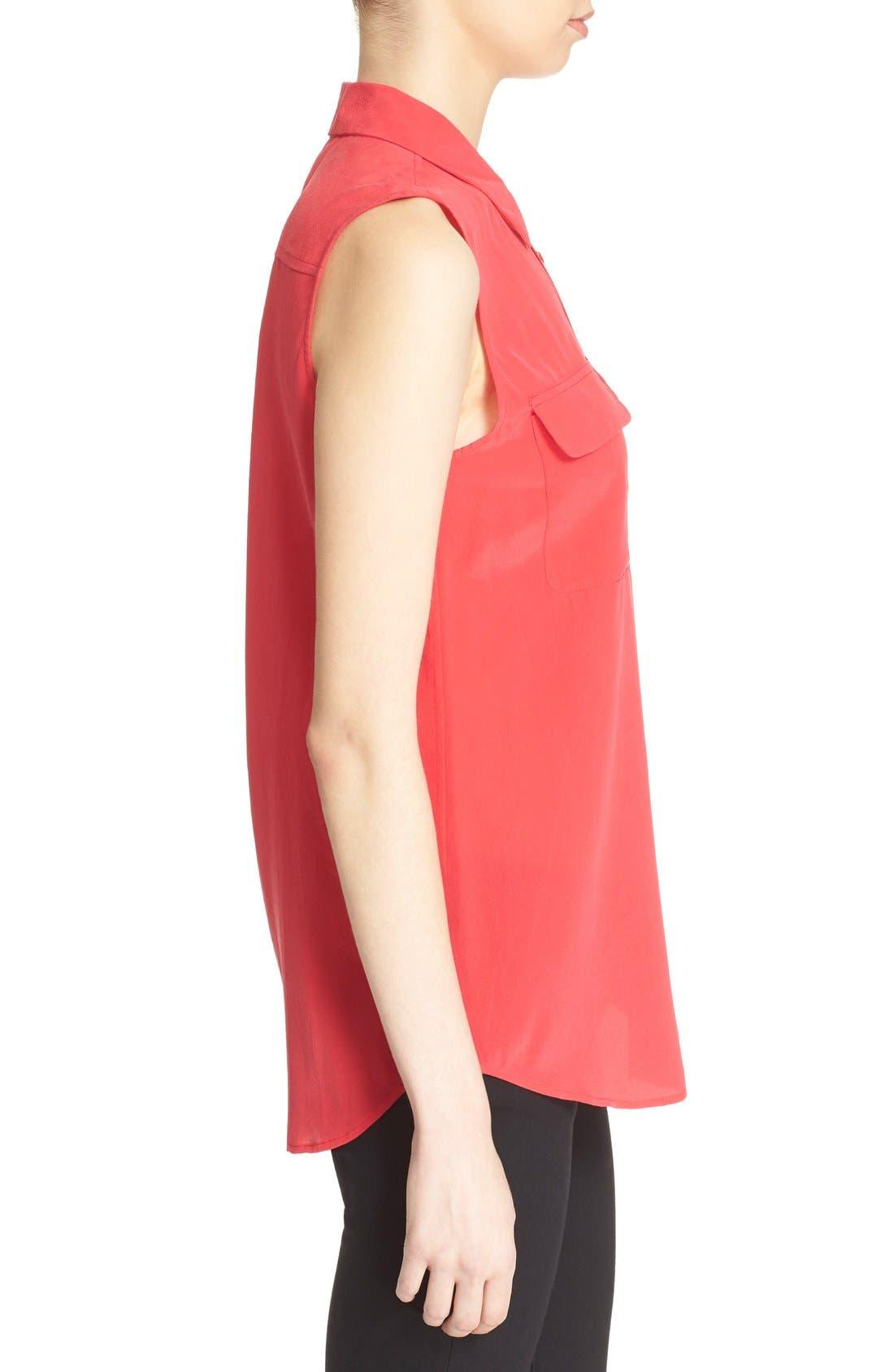 'Slim Signature' Sleeveless Silk Shirt,                             Alternate thumbnail 84, color,