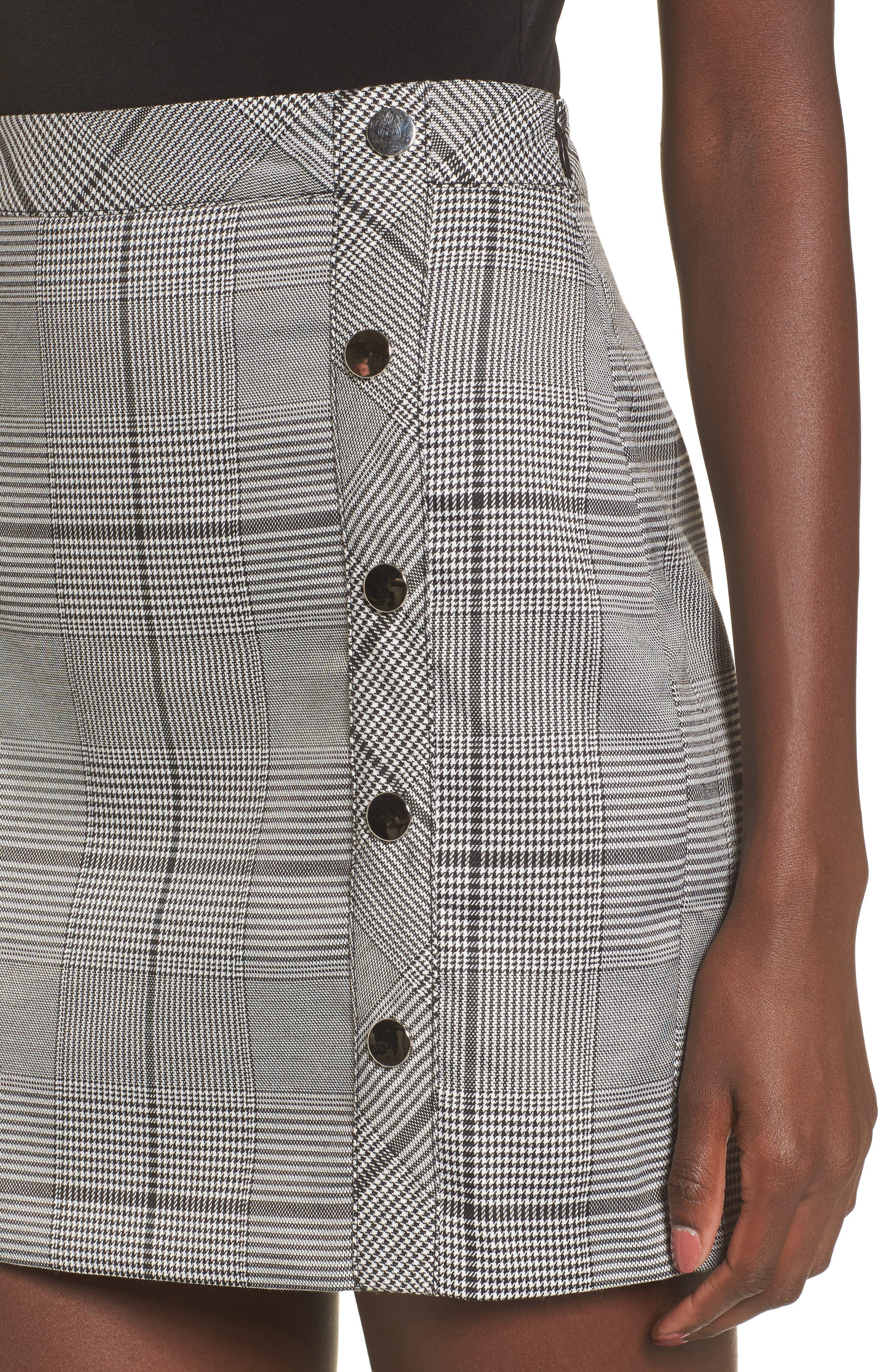 Button Plaid Miniskirt,                             Alternate thumbnail 4, color,                             001