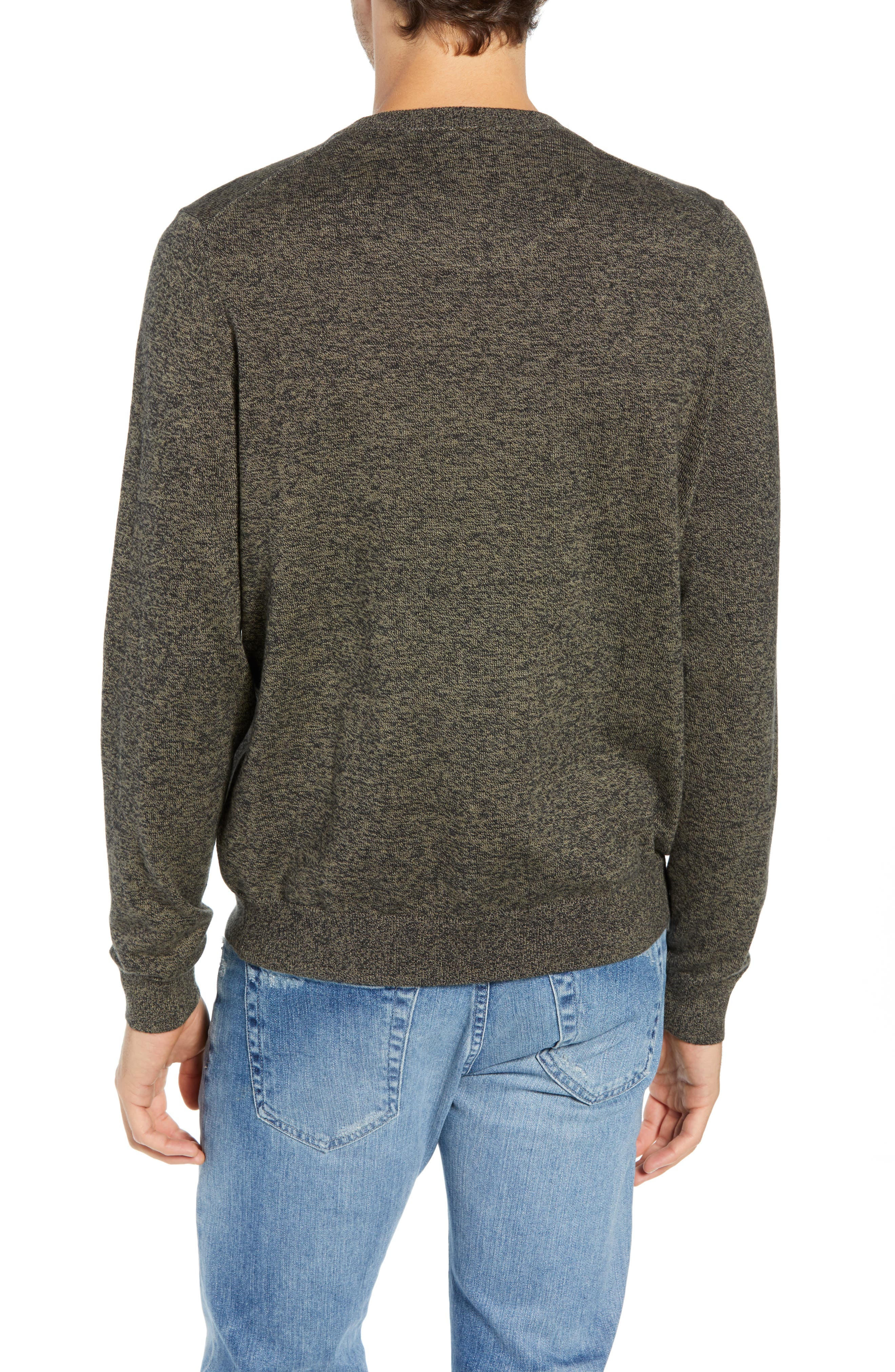 Cotton & Cashmere V-Neck Sweater,                             Alternate thumbnail 2, color,                             GREEN FOREST MARL