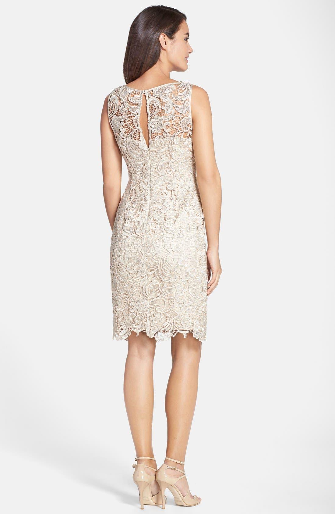 Illusion Bodice Lace Sheath Dress,                             Alternate thumbnail 15, color,