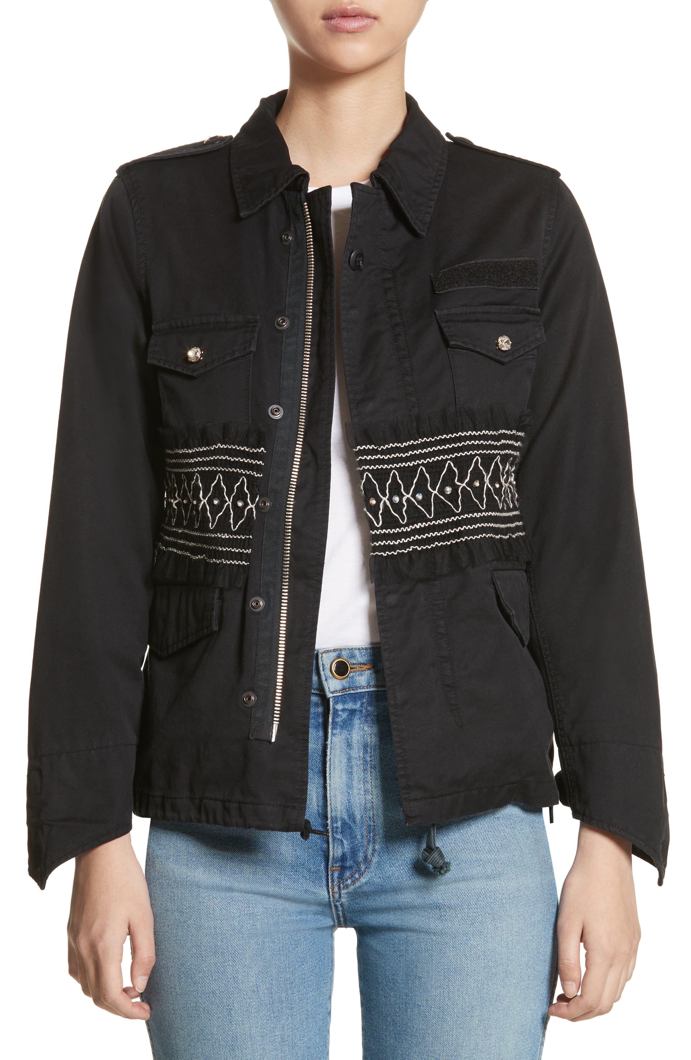 Smocked Embellished Belted Field Jacket,                         Main,                         color, 001