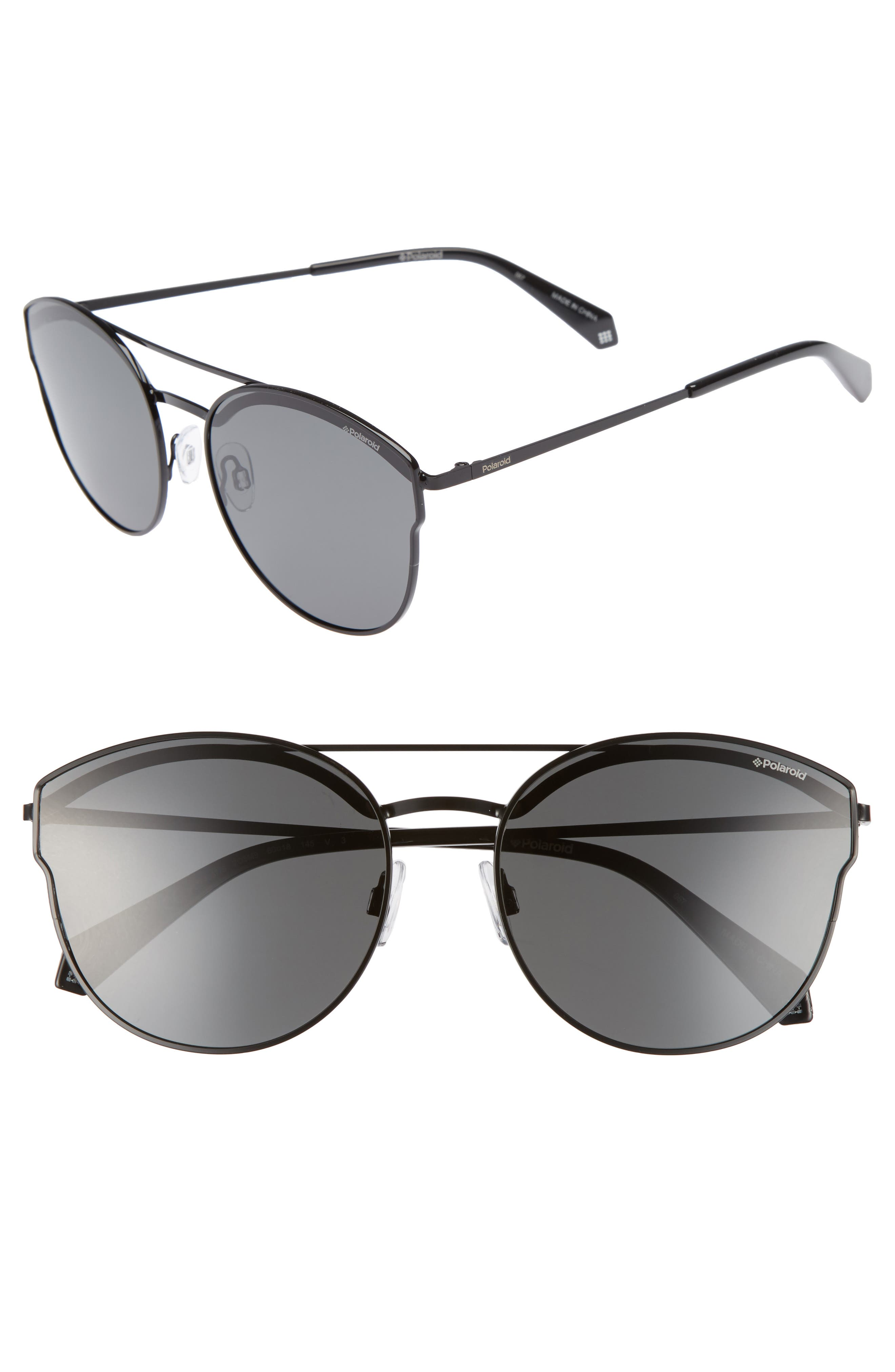 60mm Polarized Round Aviator Sunglasses,                             Main thumbnail 1, color,                             001