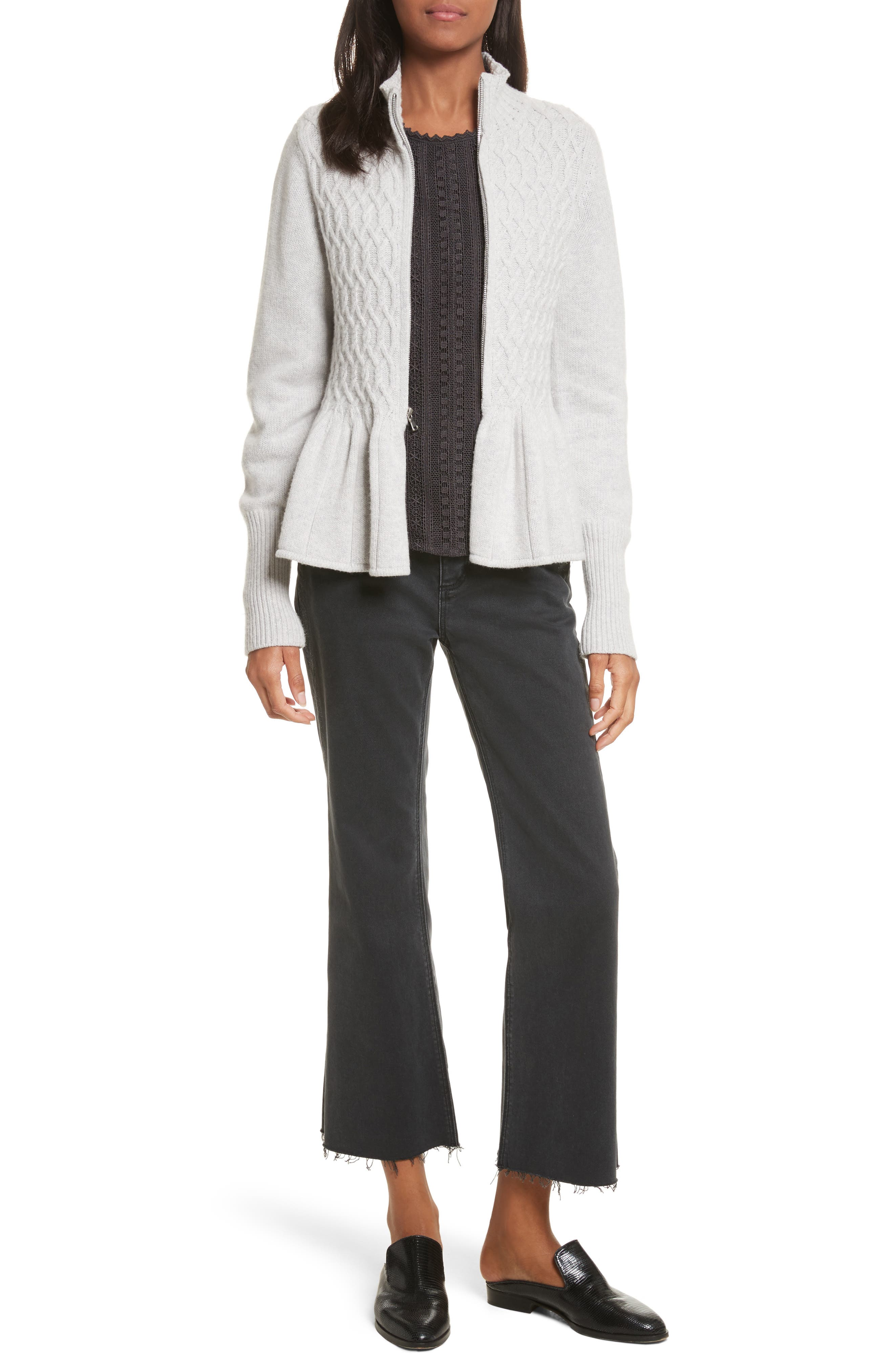 Cable Knit Front Zip Cardigan,                             Alternate thumbnail 7, color,                             058
