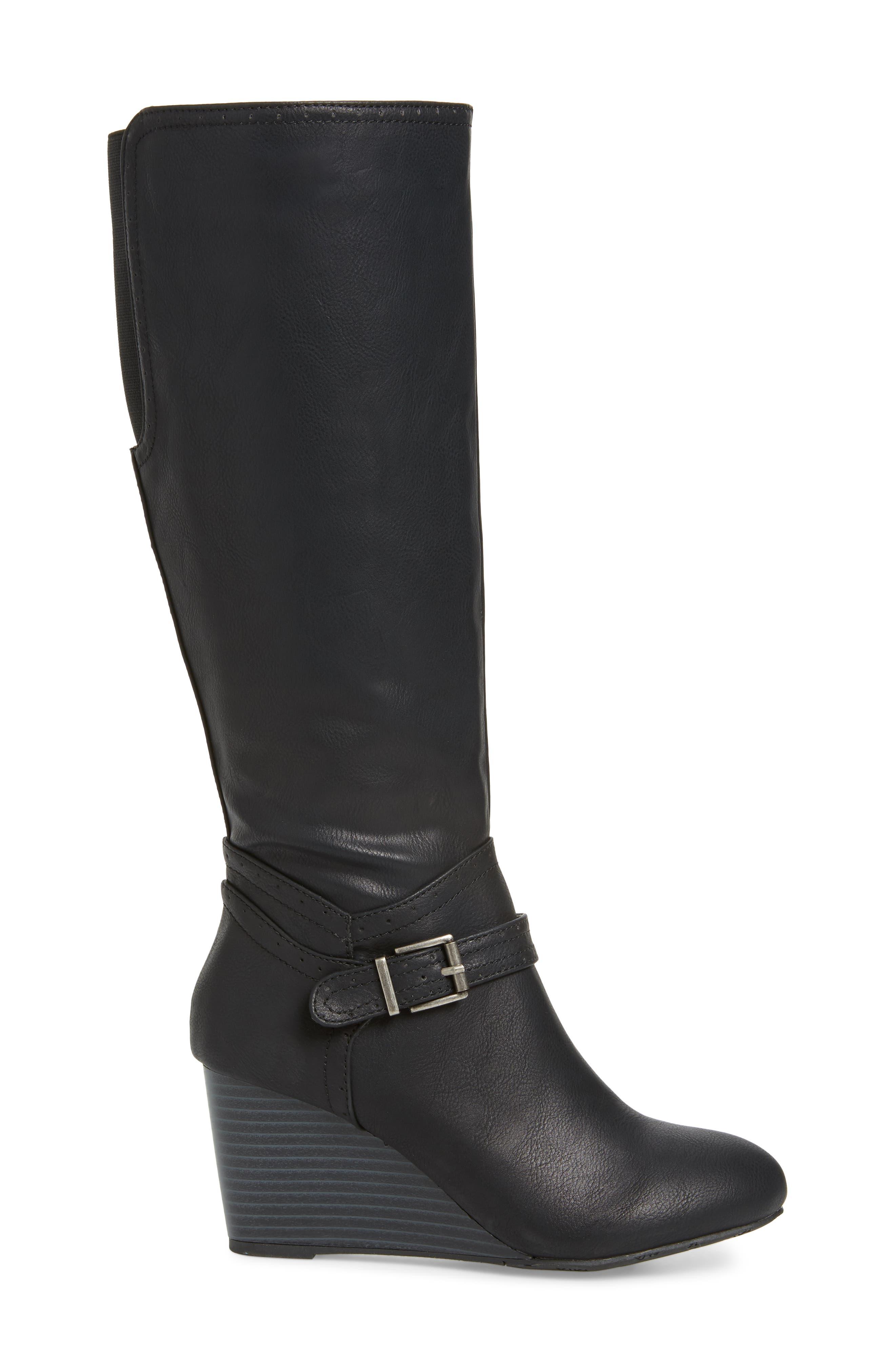 Claretta Knee High Wedge Boot,                             Alternate thumbnail 3, color,                             BLACK VEGAN LEATHER