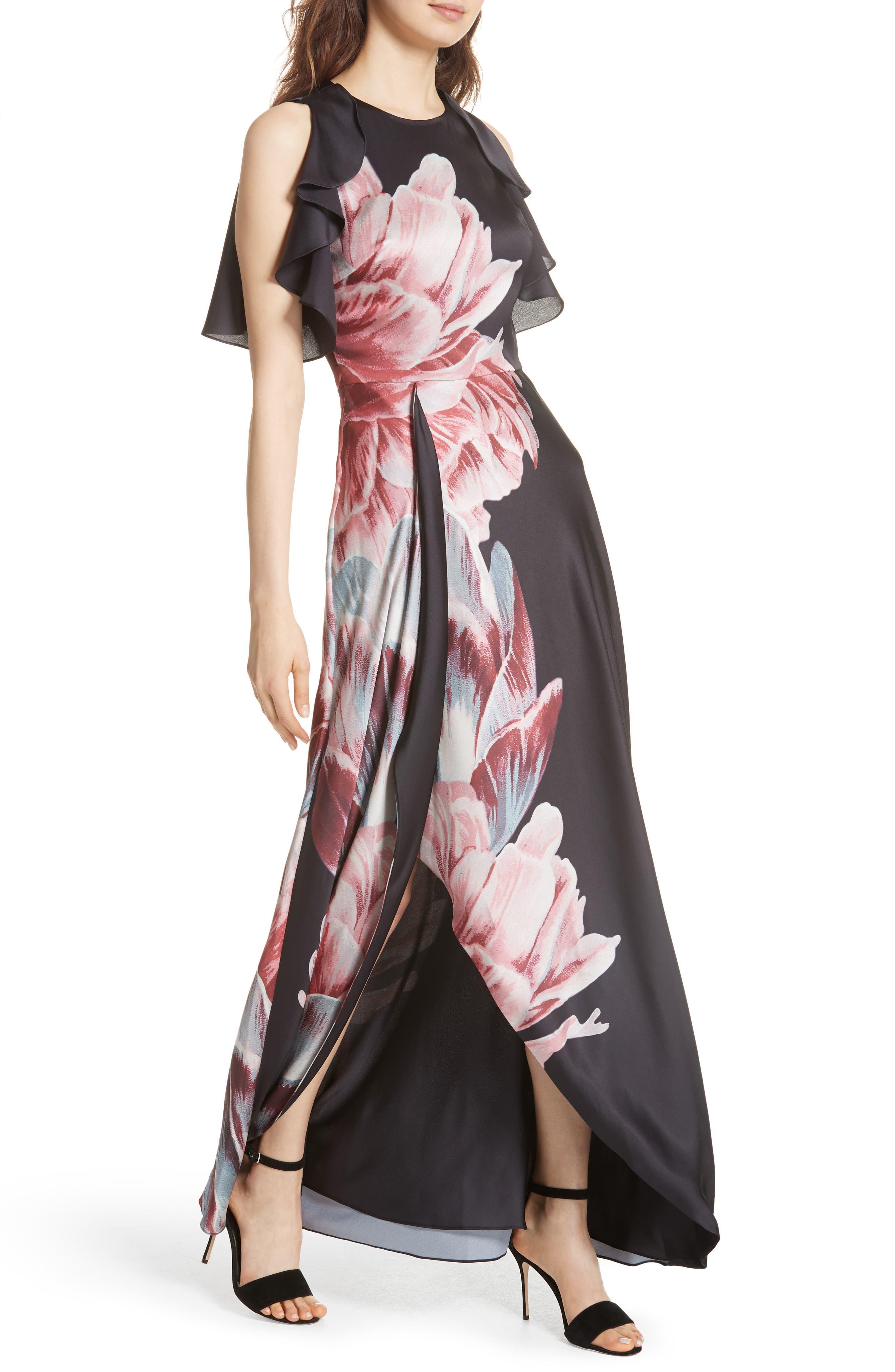 Ulrika Tranquility Ruffle Maxi Dress,                             Alternate thumbnail 4, color,                             BLACK