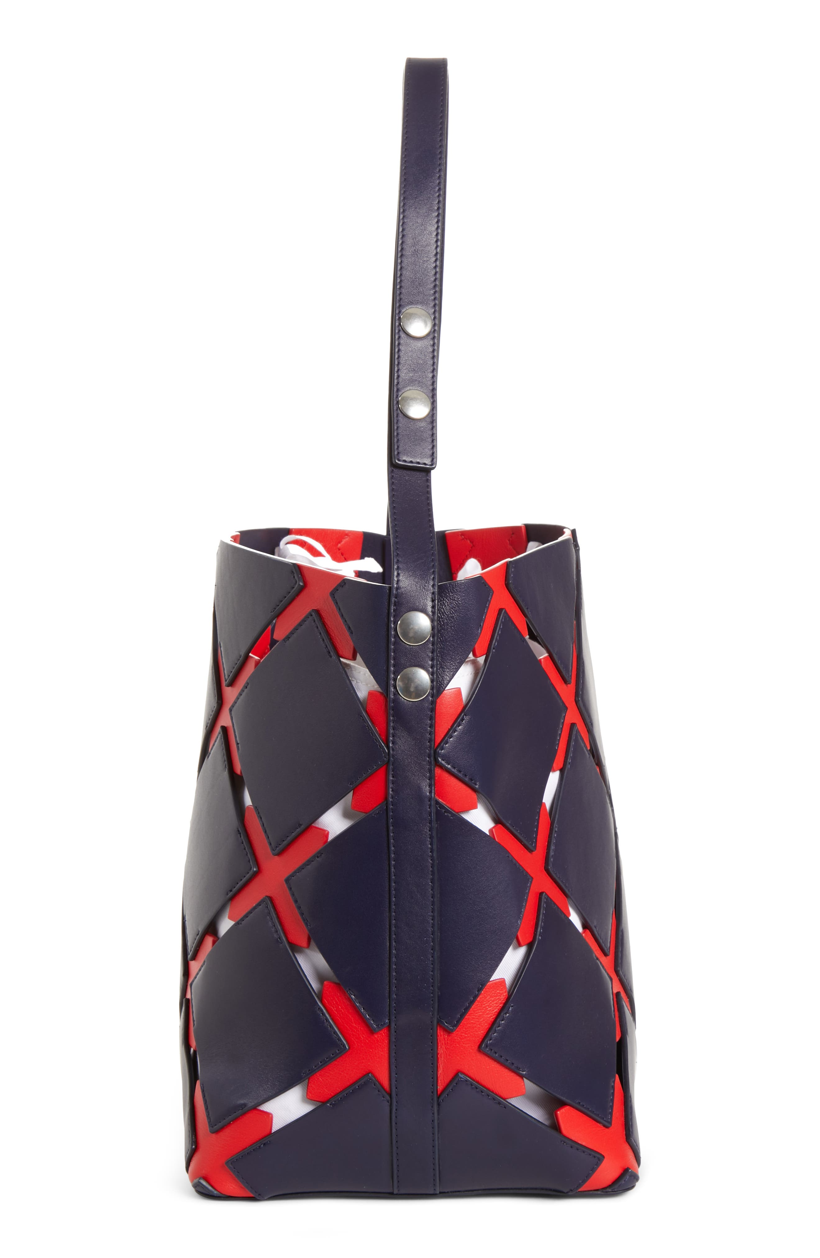 Patchwork Quilt Leather Bucket Bag,                             Alternate thumbnail 5, color,                             NAVY/ RED