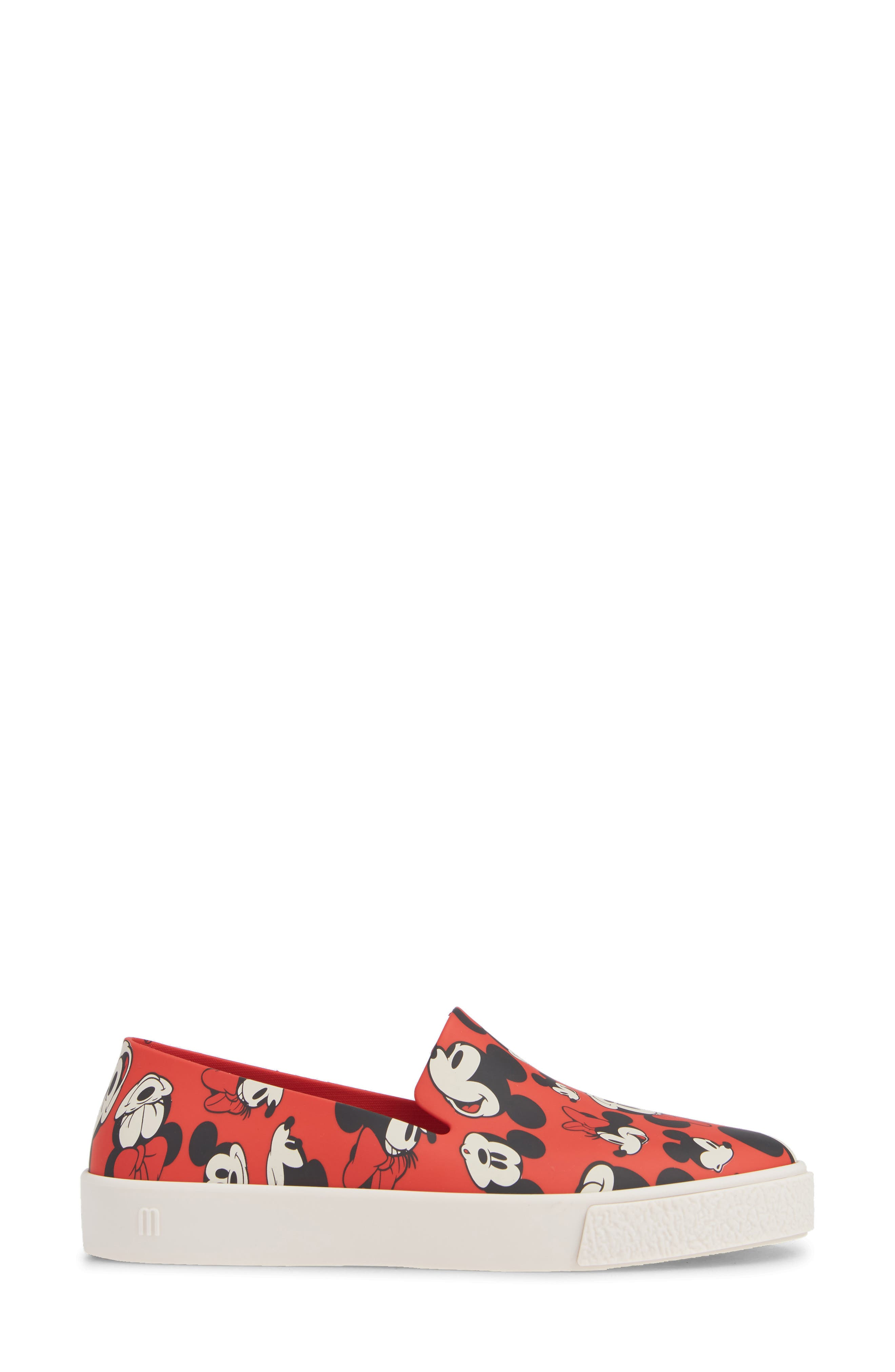 Ground Mickey Mouse Slip-On Sneaker,                             Alternate thumbnail 3, color,                             RED/ WHITE FABRIC