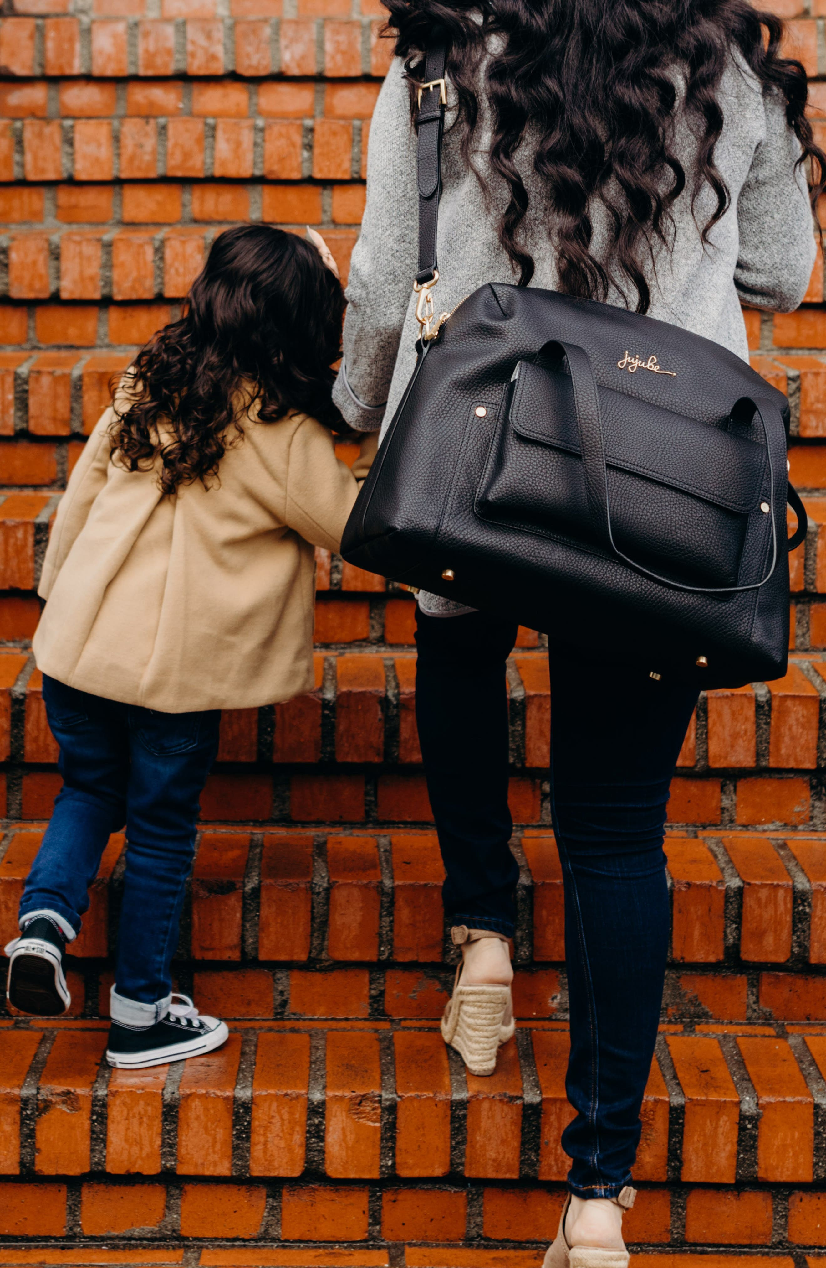 Ever Collection Wherever Faux Leather Weekend Diaper Bag,                             Alternate thumbnail 10, color,                             NOIR