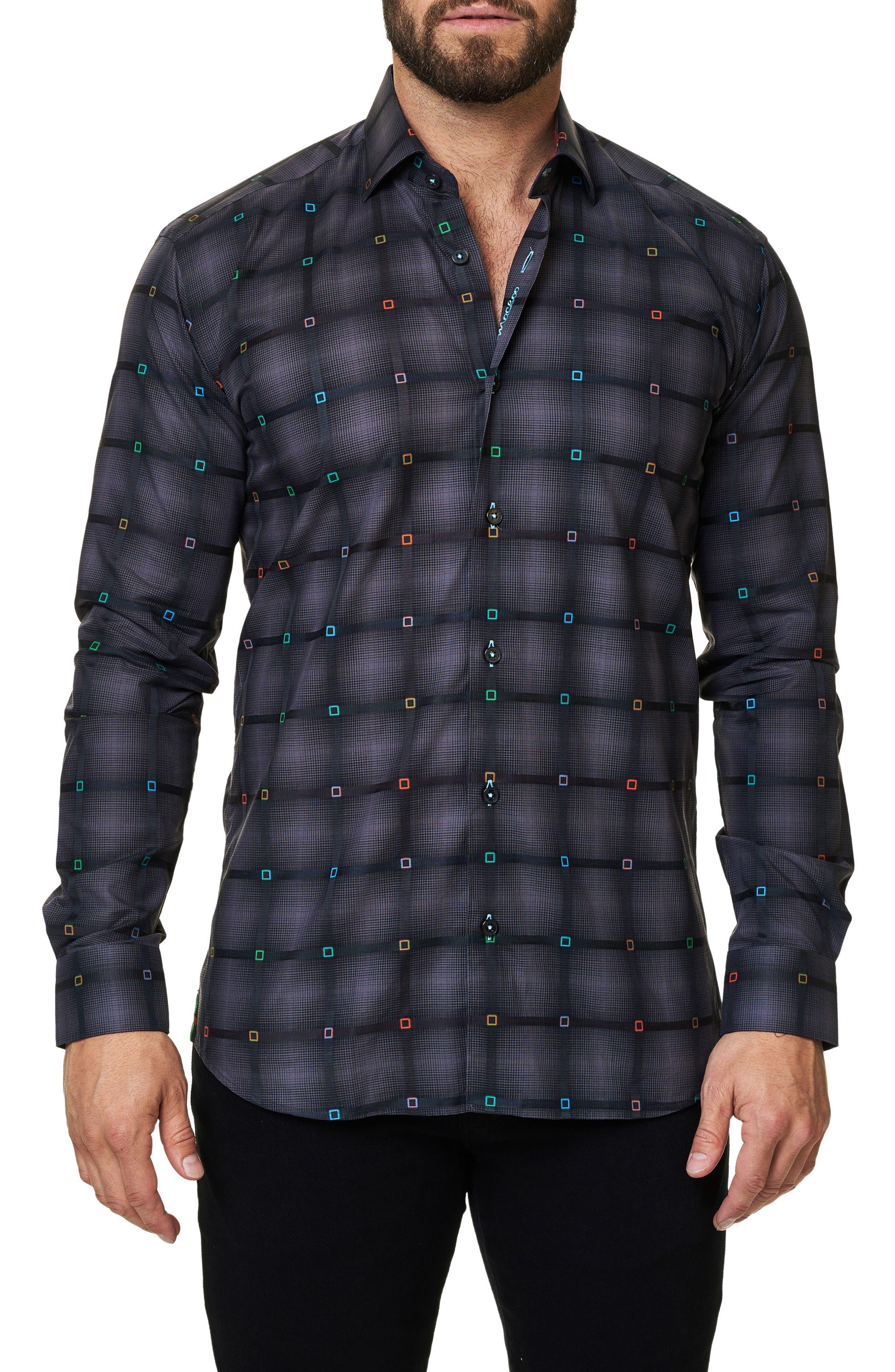 Trim Fit Grid Print Sport Shirt,                         Main,                         color, 002