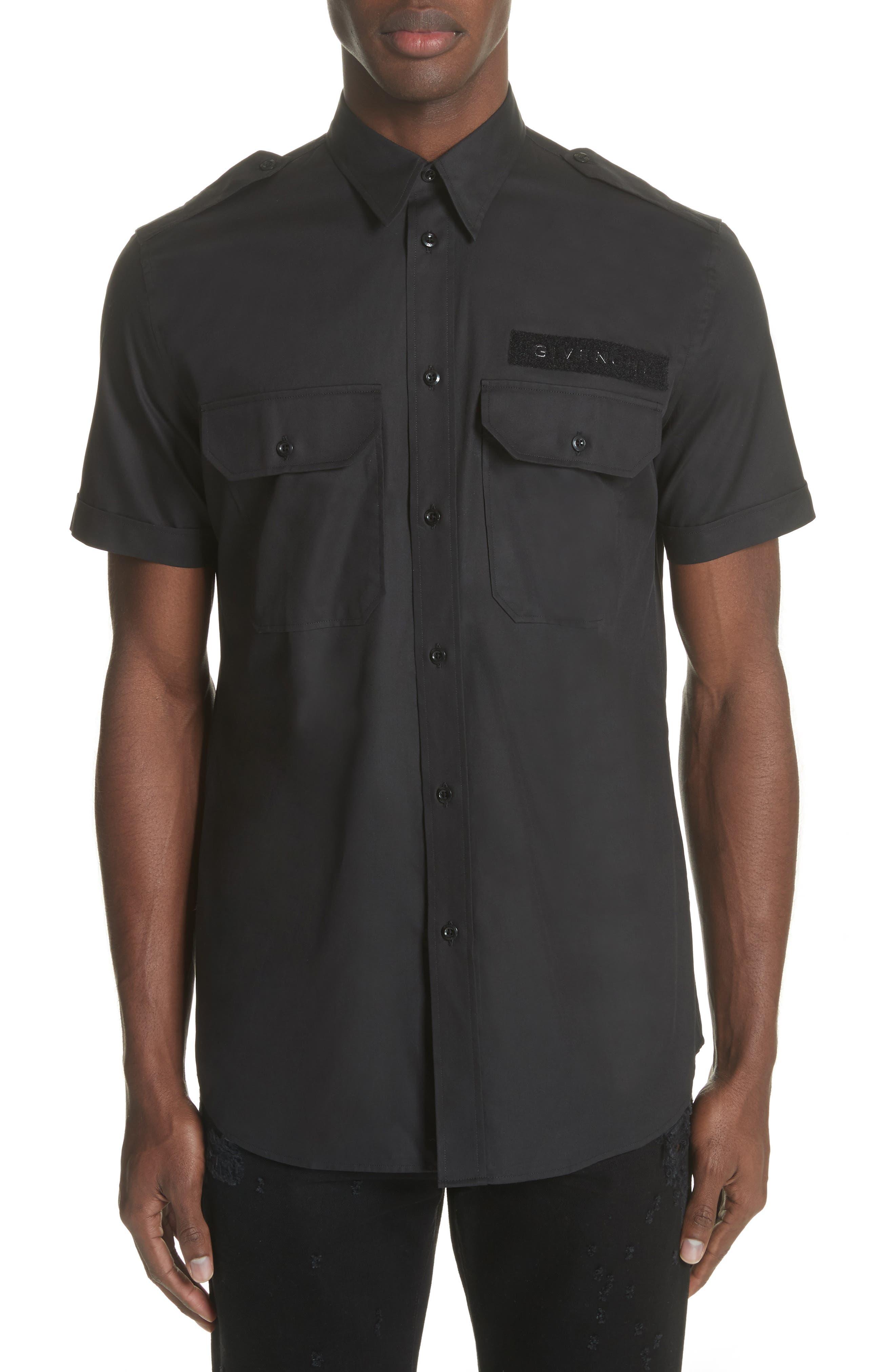 Short Sleeve Woven Shirt,                         Main,                         color, 001