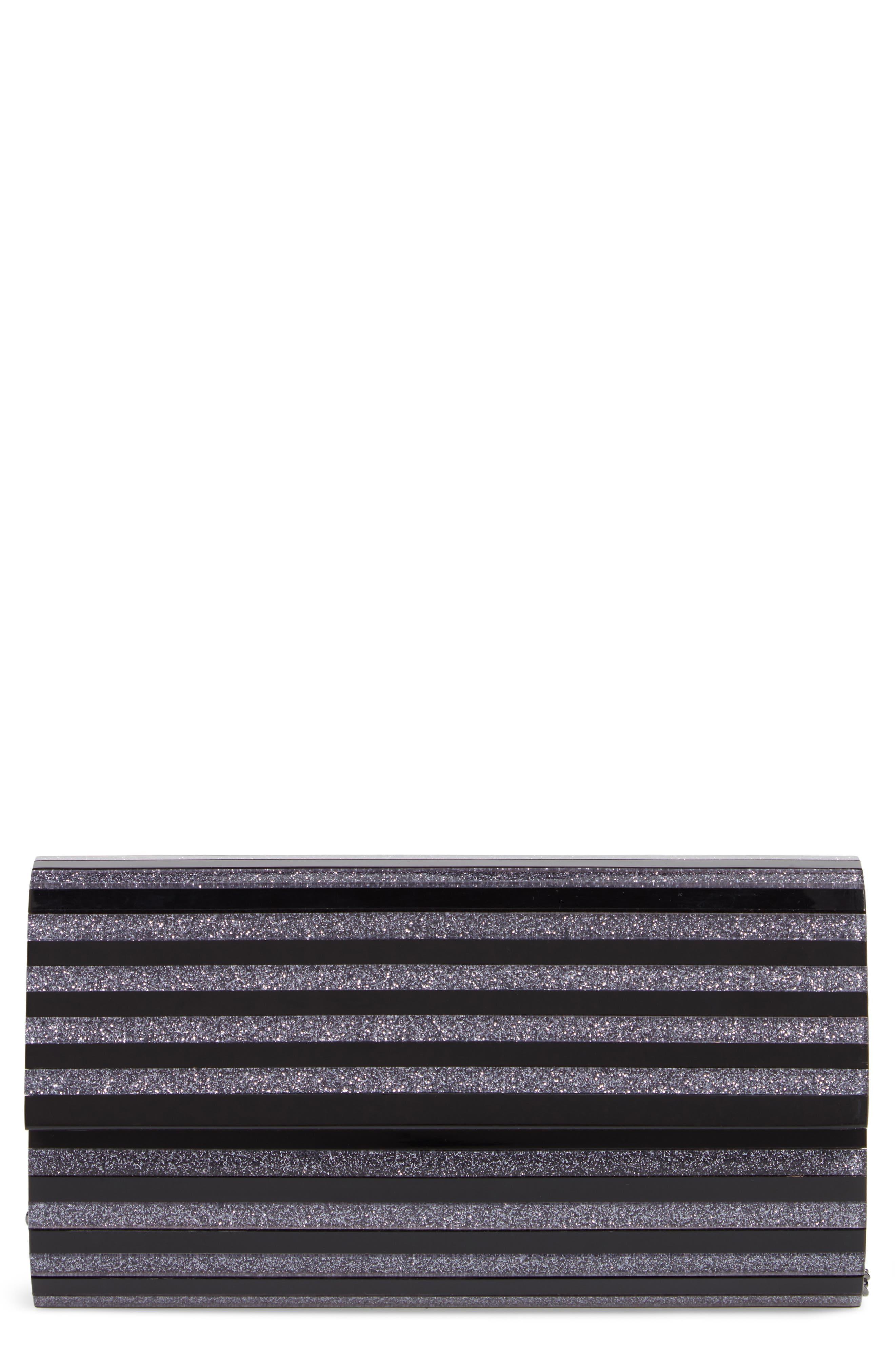 Glitter Stripe Lucite<sup>®</sup> Clutch,                             Main thumbnail 1, color,                             BLACK