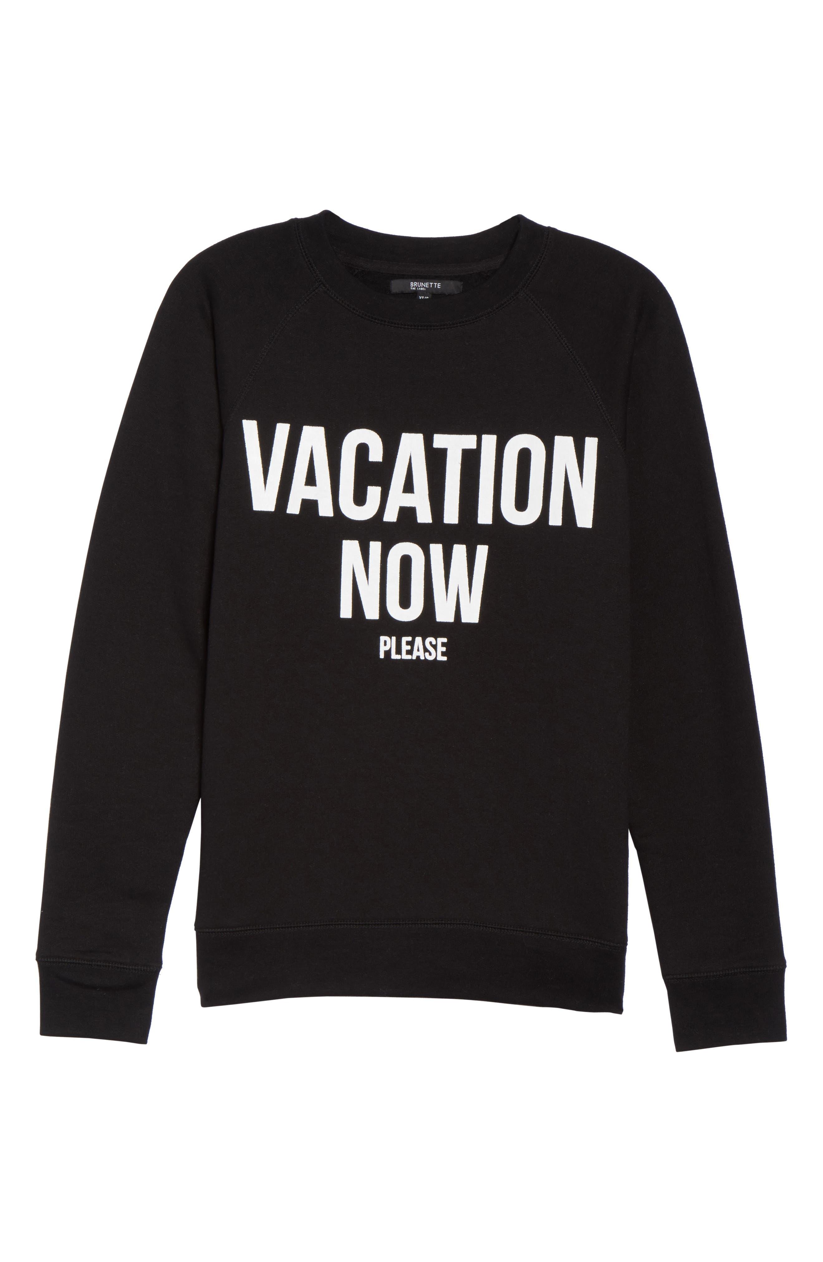 Vacation Now Sweatshirt,                             Alternate thumbnail 6, color,                             001