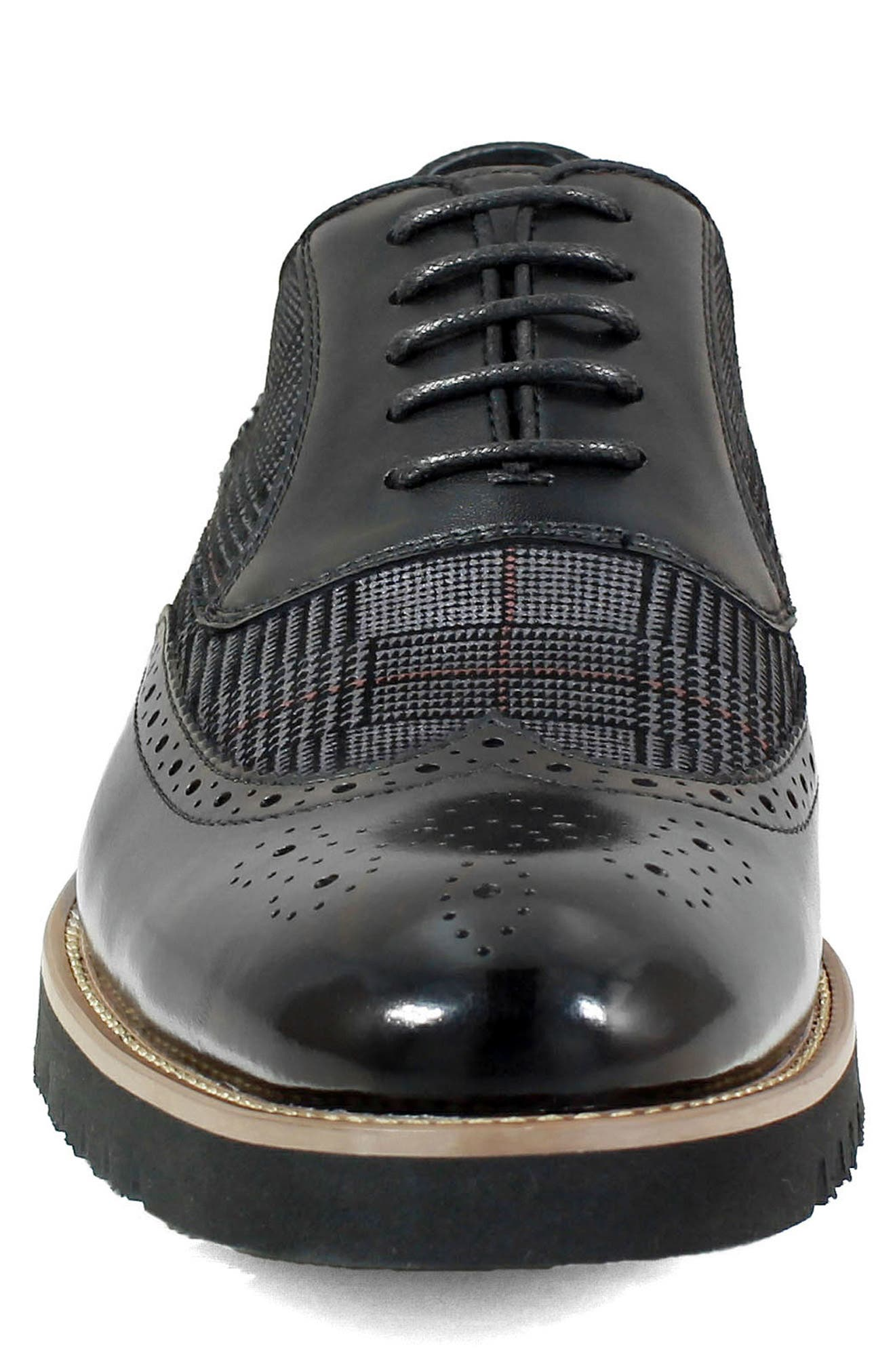 Baxley Glen Plaid Wingtip,                             Alternate thumbnail 4, color,                             BLACK LEATHER/ SUEDE