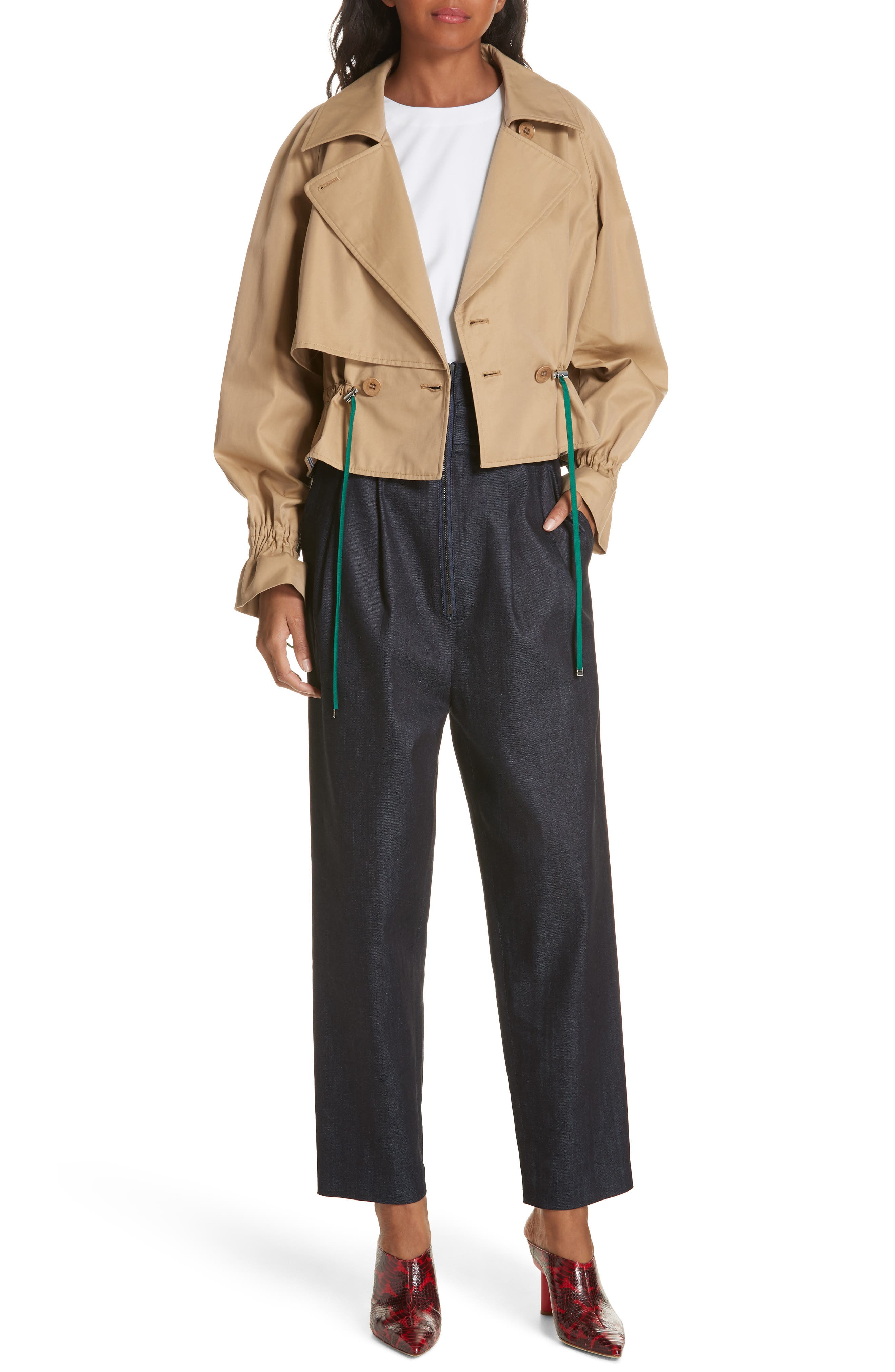Finn Water Resistant Twill Crop Trench Coat,                             Main thumbnail 1, color,                             250