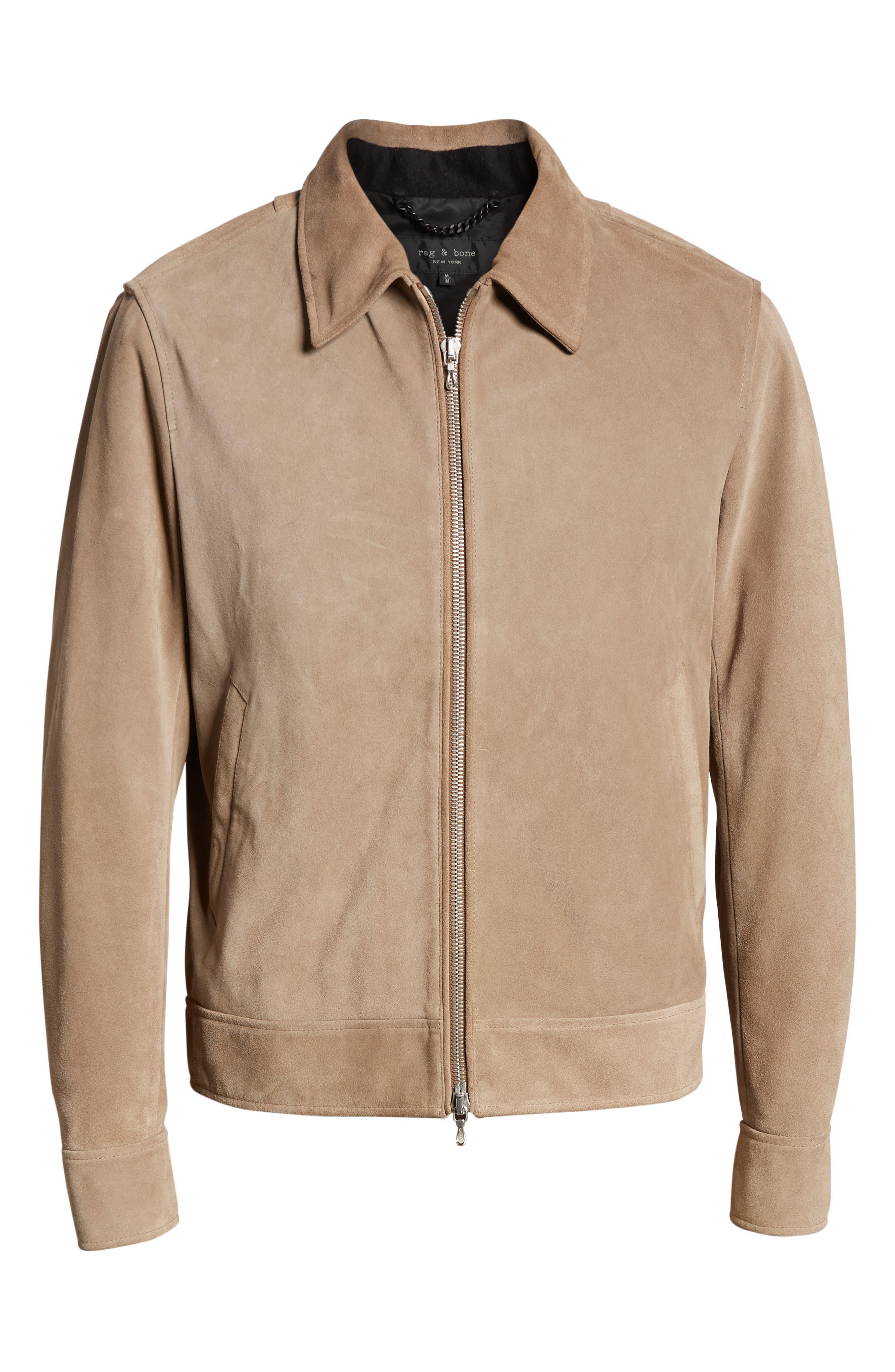 RAG & BONE,                             Regular Fit Suede Garage Jacket,                             Alternate thumbnail 6, color,                             CEMENT