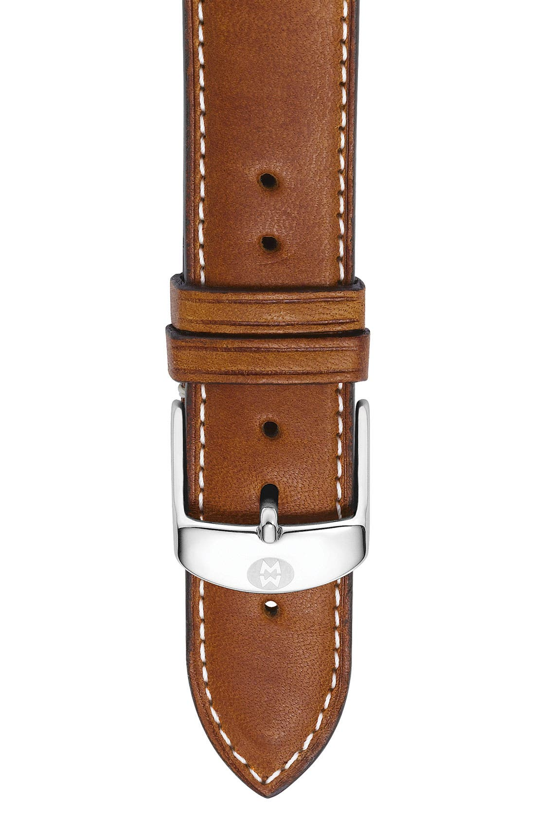 20mm Extra Long Leather Watch Strap,                         Main,                         color, SADDLE