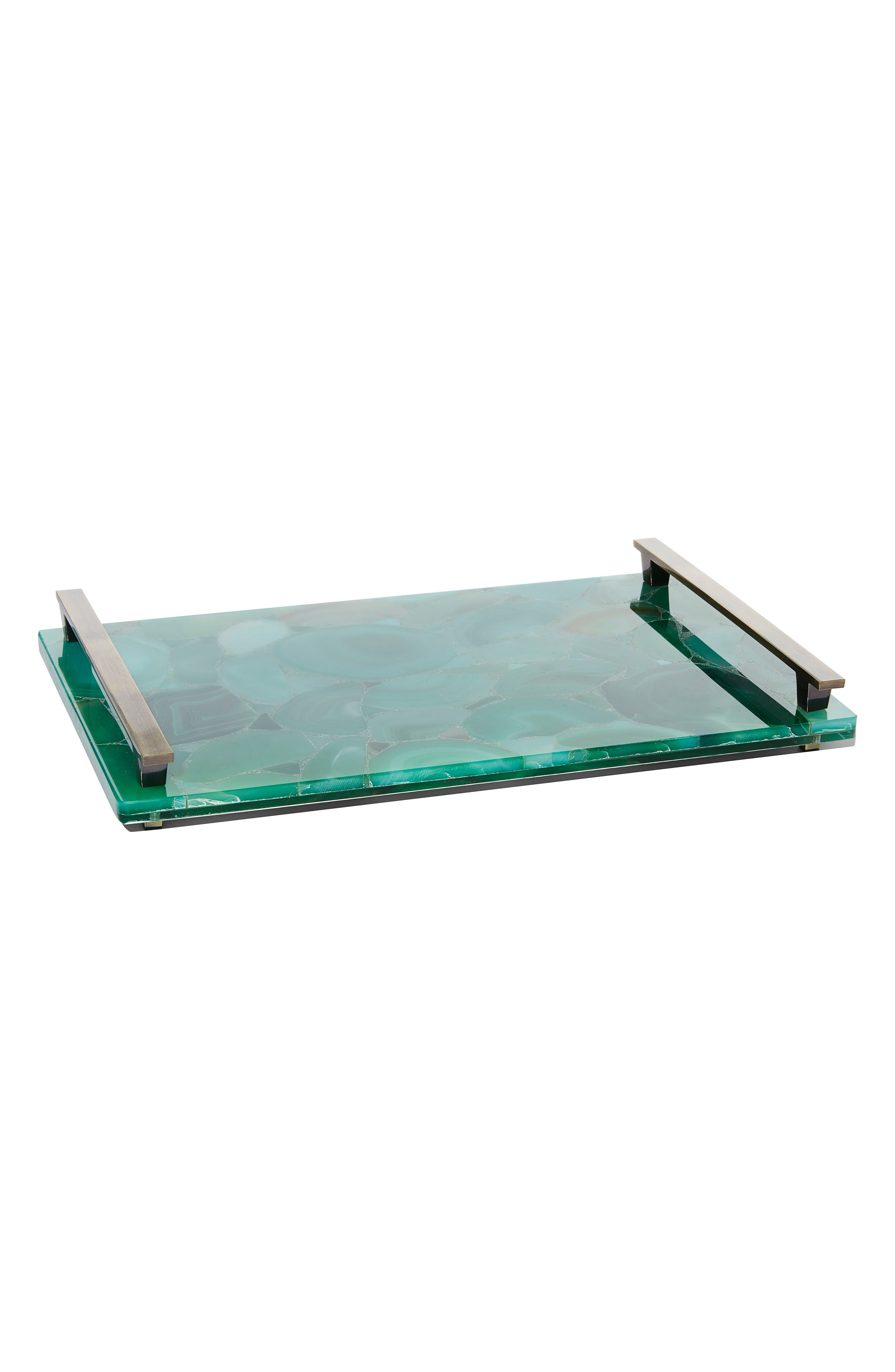 Stone Slab Tray,                             Main thumbnail 1, color,                             GREEN BANDED AGATE