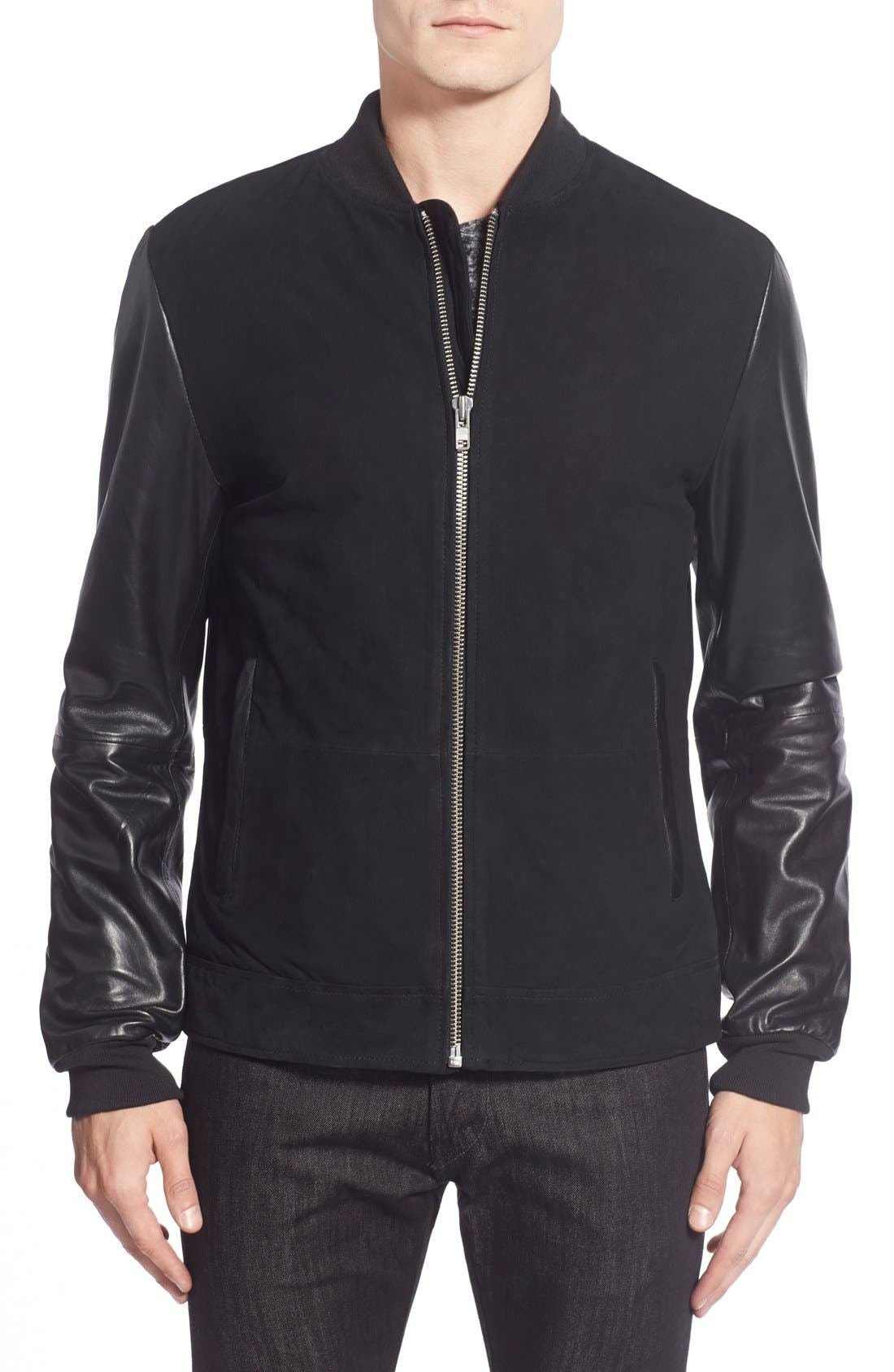 Suede Varsity Jacket with Leather Sleeves, Main, color, 001