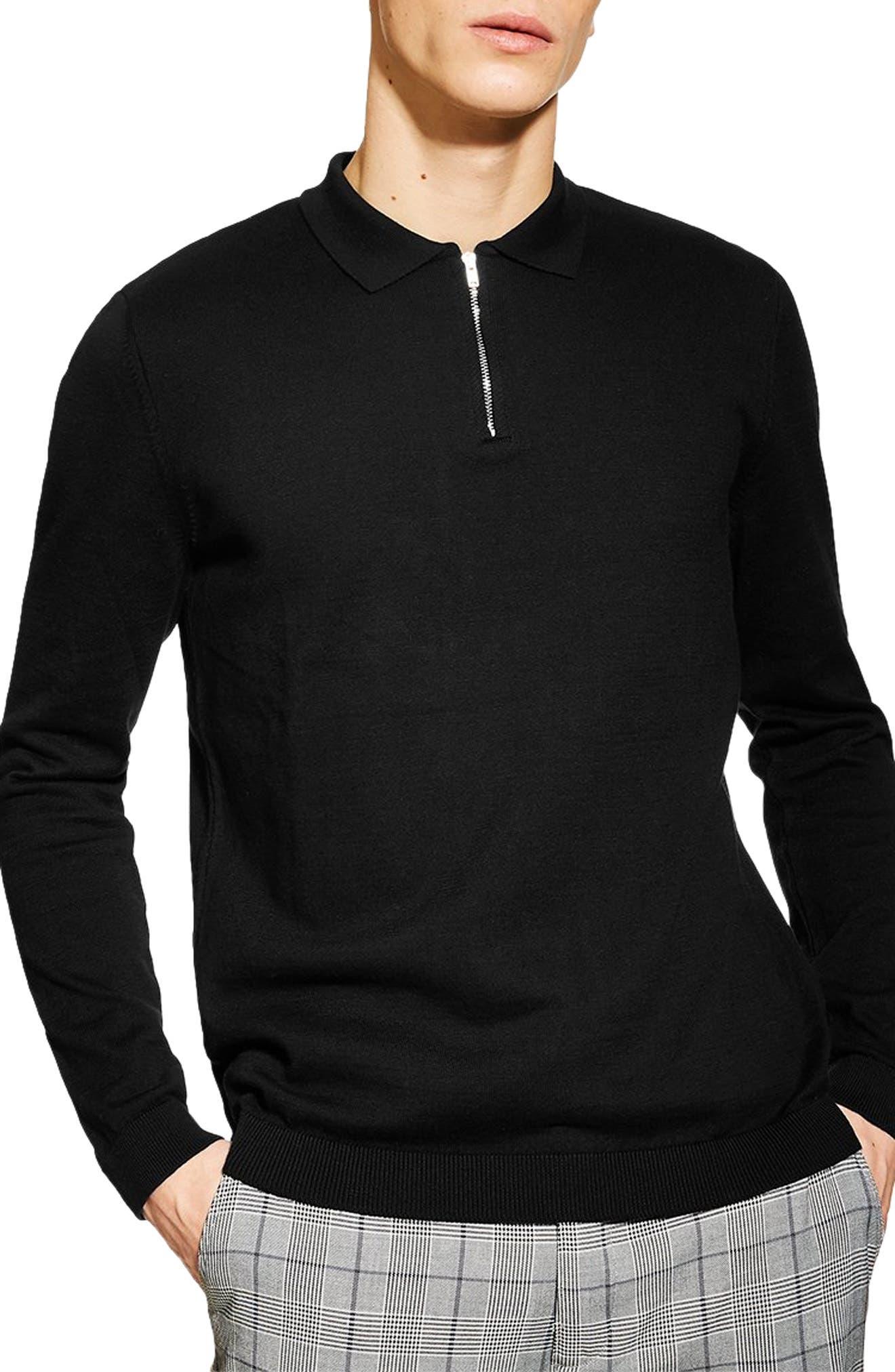 Zip Long Sleeve Polo, Main, color, BLACK