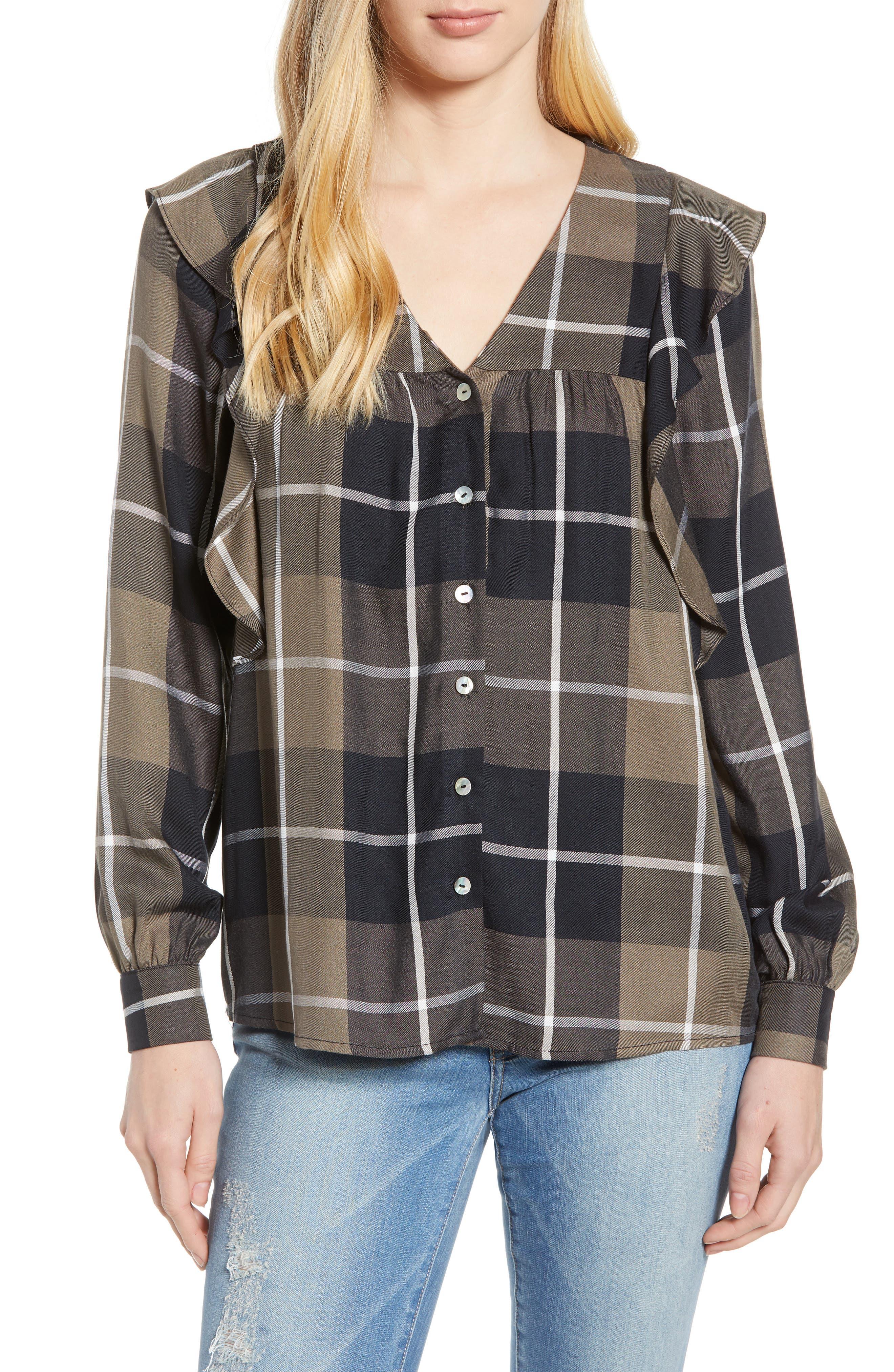 Ruffled Plaid Shirt,                         Main,                         color, 001