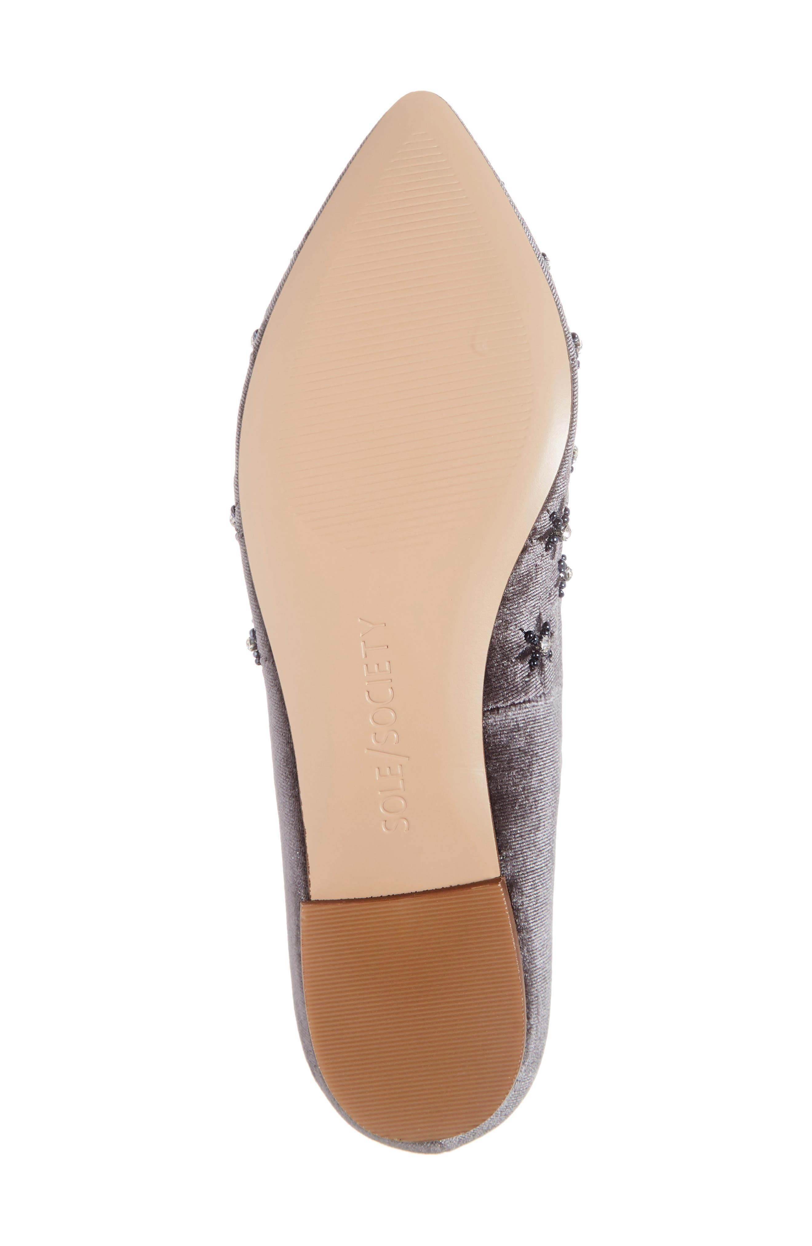 Letticah Crystal Embellished Loafer,                             Alternate thumbnail 6, color,                             SILVER ASH VELVET