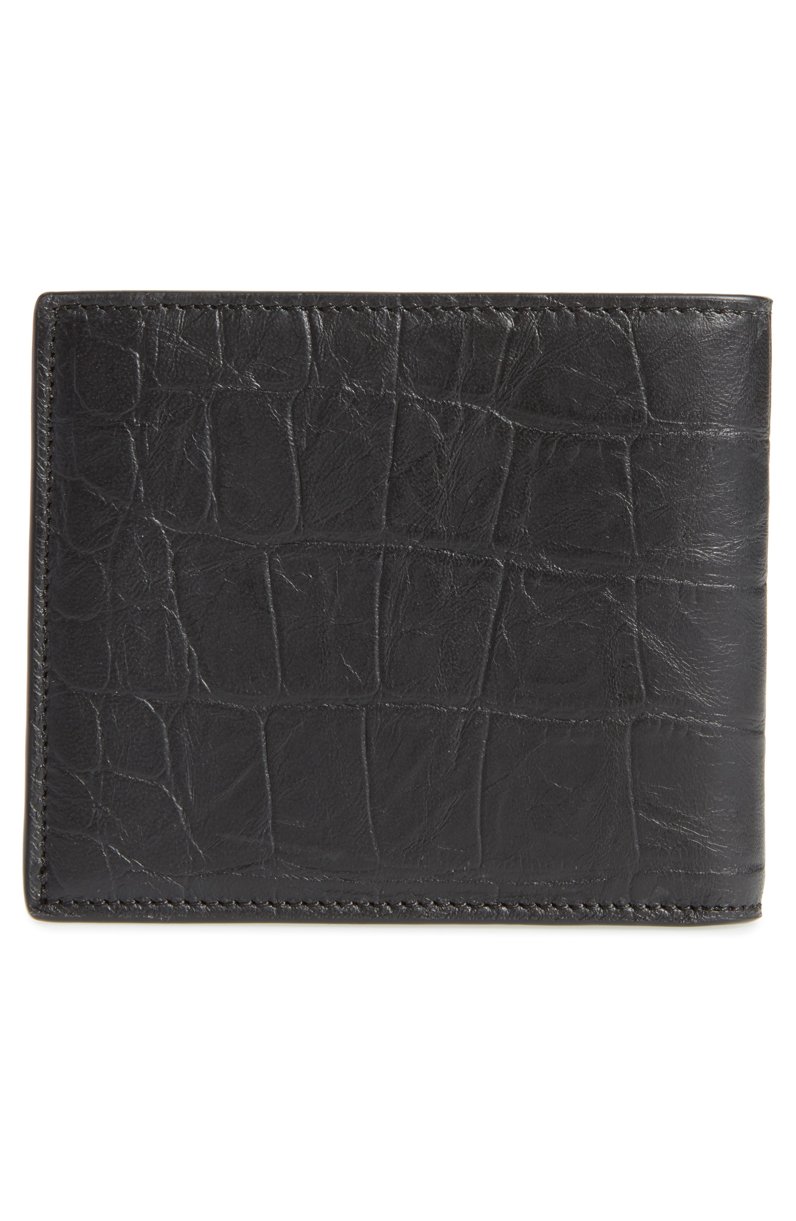 Croc Embossed Leather Wallet,                             Alternate thumbnail 3, color,                             001