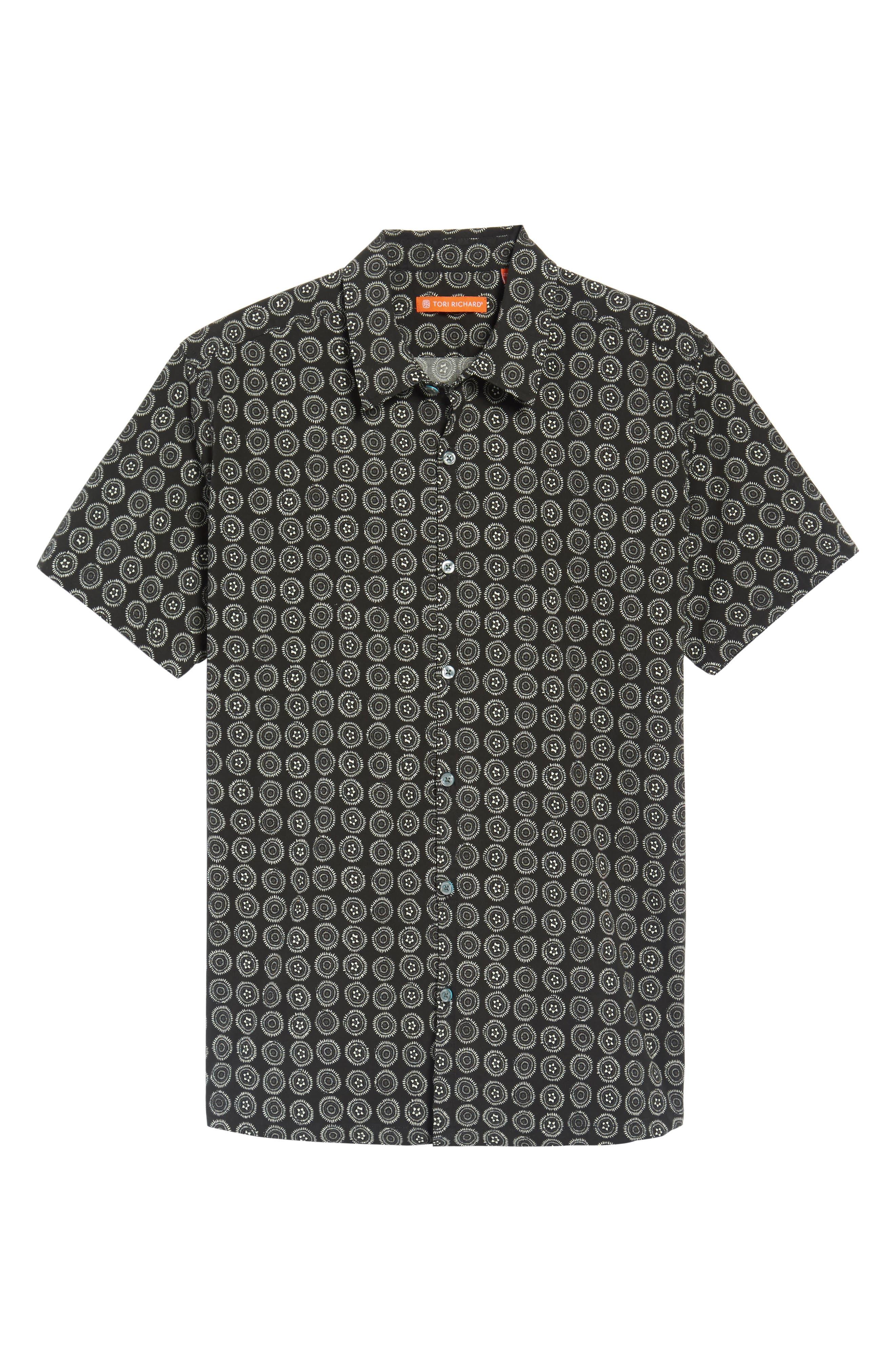 Sea Crest Slim Fit Print Camp Shirt,                             Alternate thumbnail 6, color,                             001