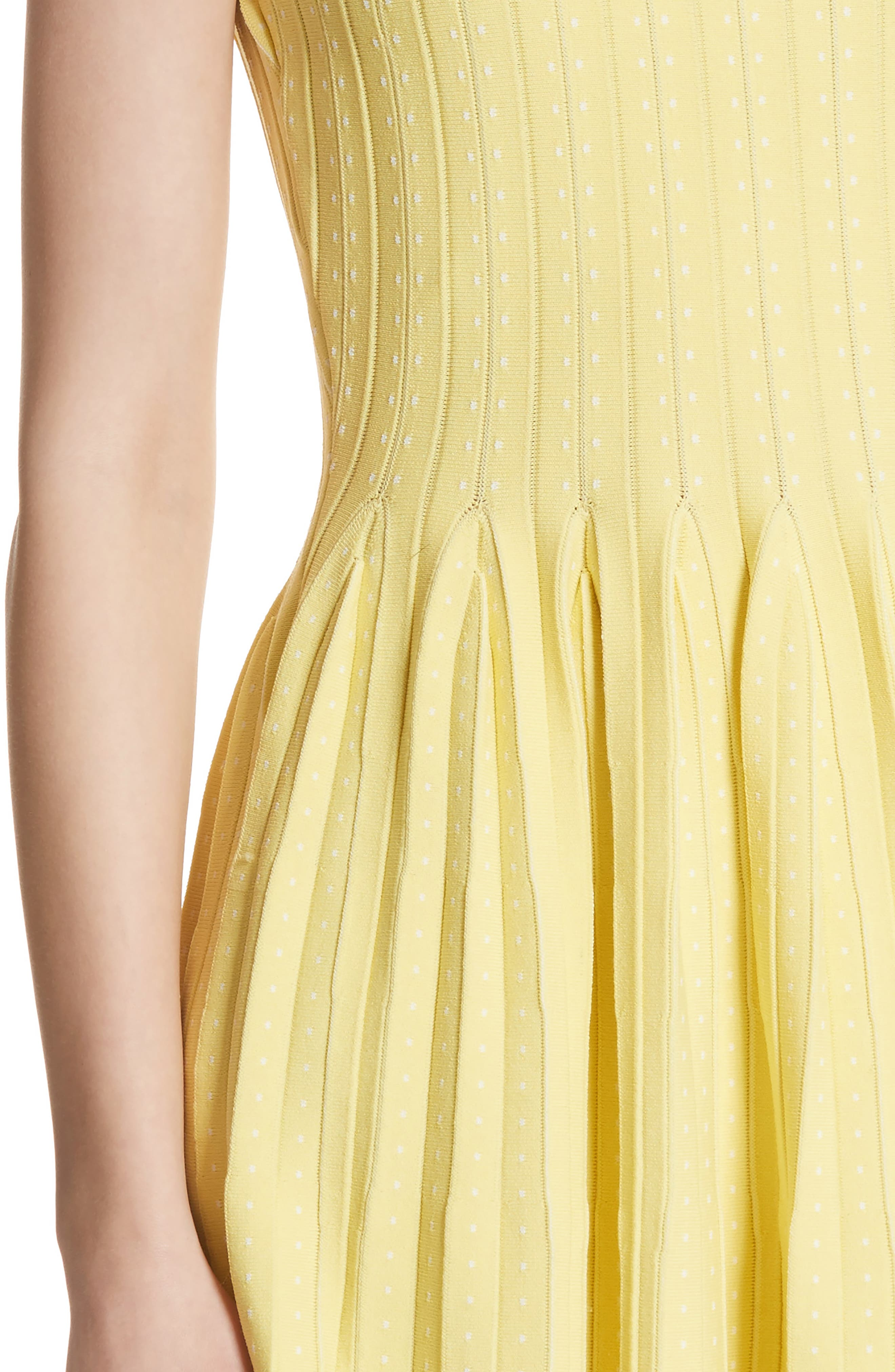 Dot Pleat Fit & Flare Dress,                             Alternate thumbnail 4, color,                             LEMON/ WHITE
