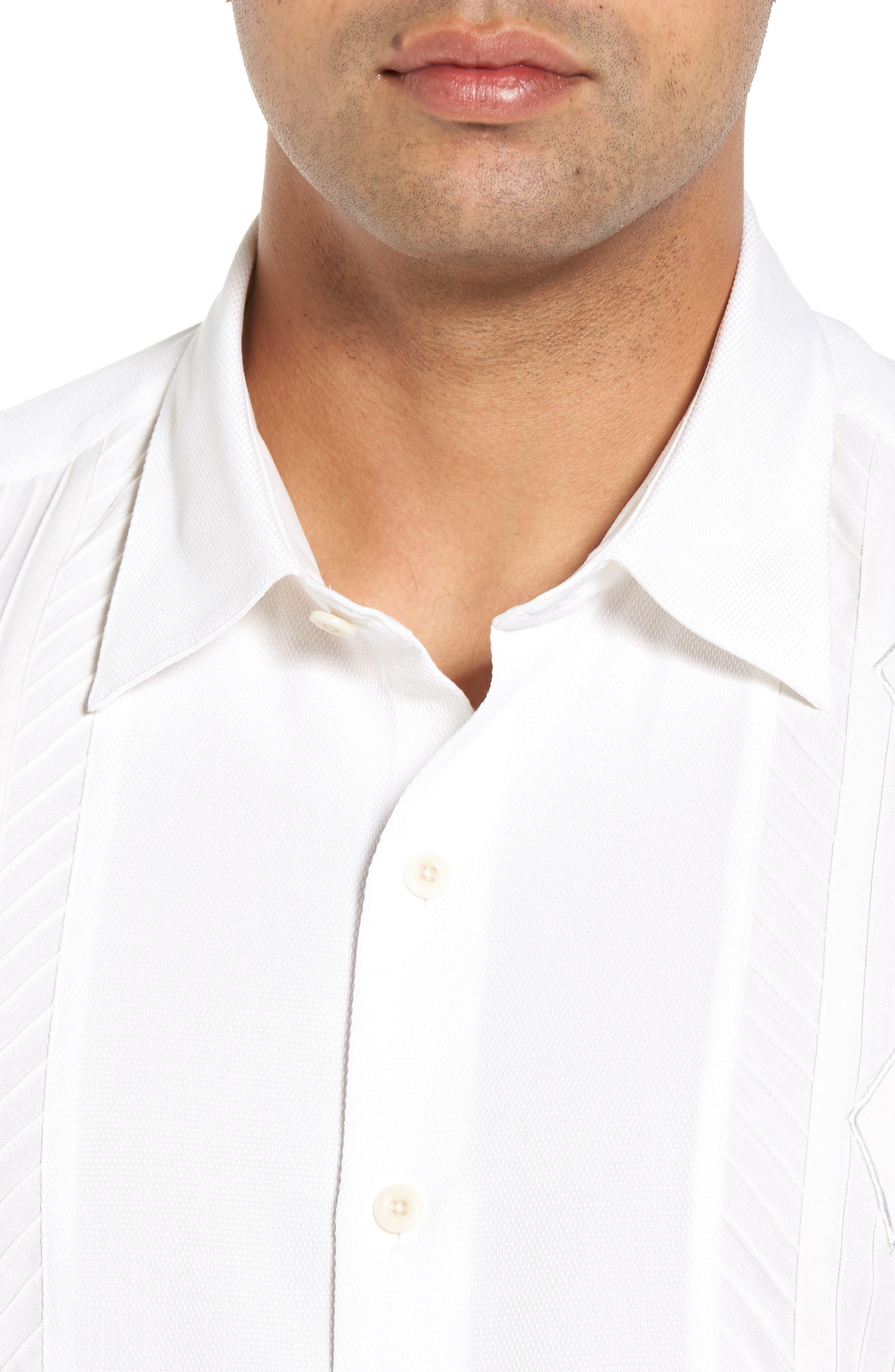 Gondola Embroidered Jacquard Silk Blend Sport Shirt,                             Alternate thumbnail 4, color,