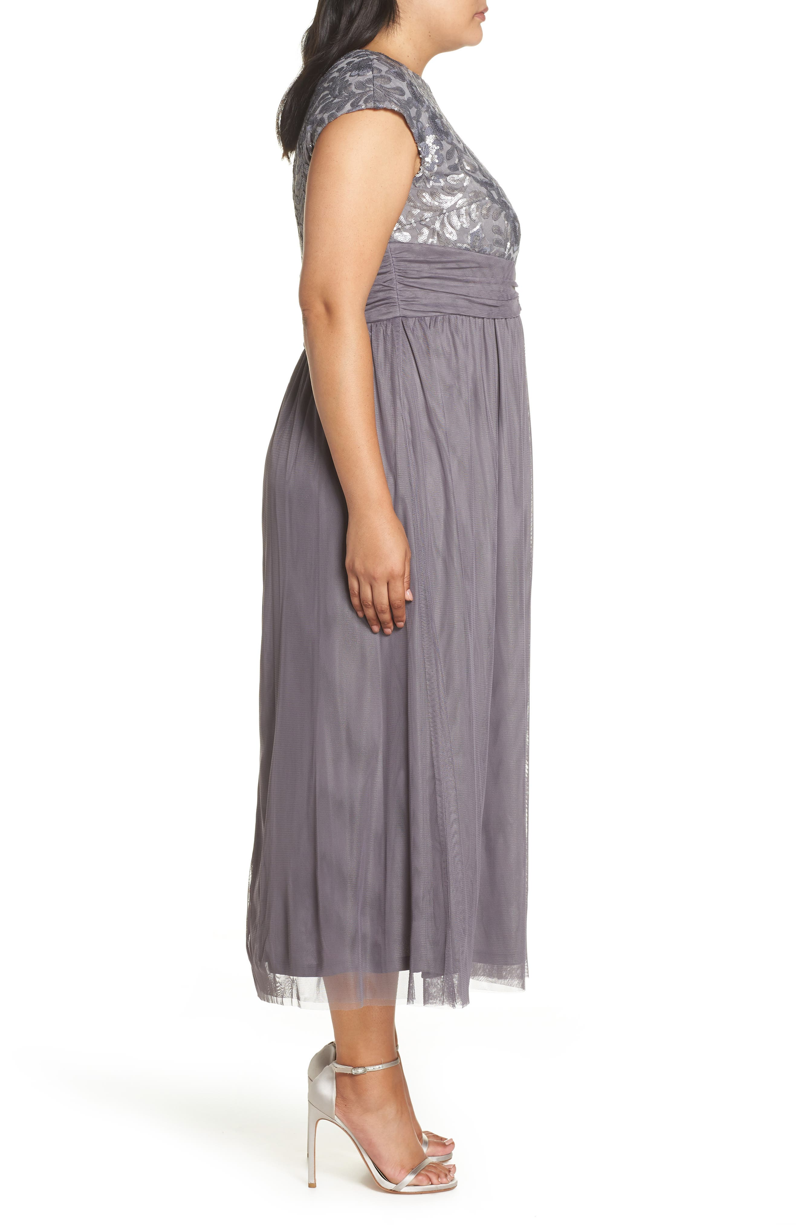 Embellished Cap Sleeve Gown,                             Alternate thumbnail 3, color,                             GUNMETAL