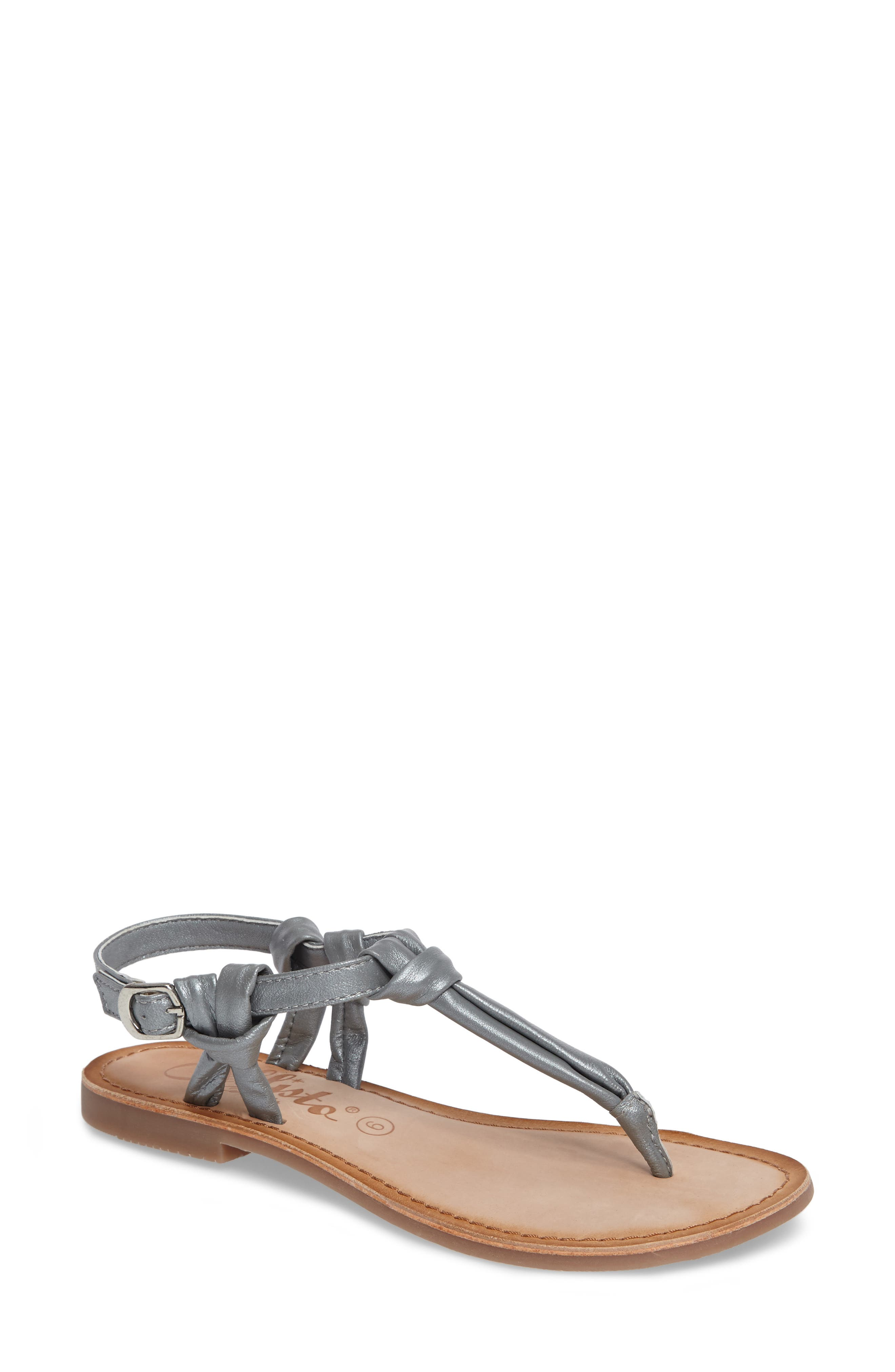 Azza T-Strap Sandal,                             Main thumbnail 1, color,                             PEWTER LEATHER
