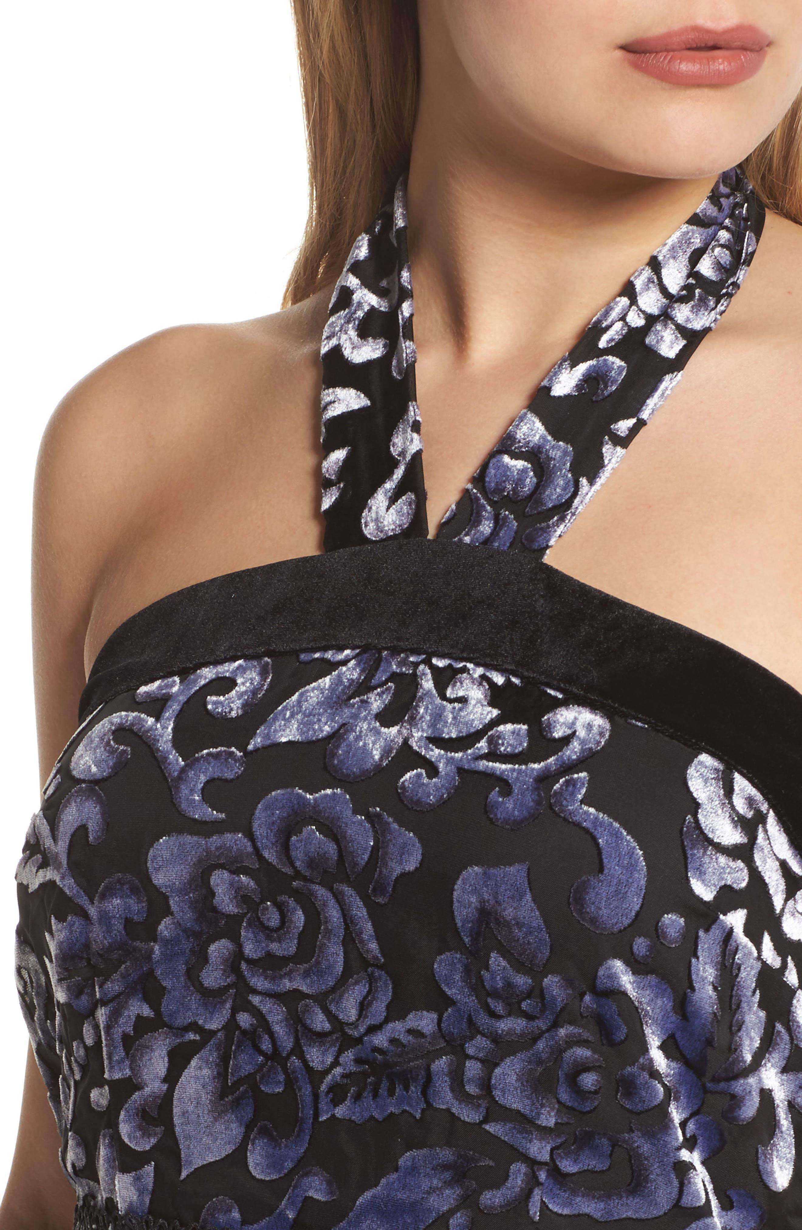 Velvet Halter Neck Fit & Flare Dress,                             Alternate thumbnail 4, color,