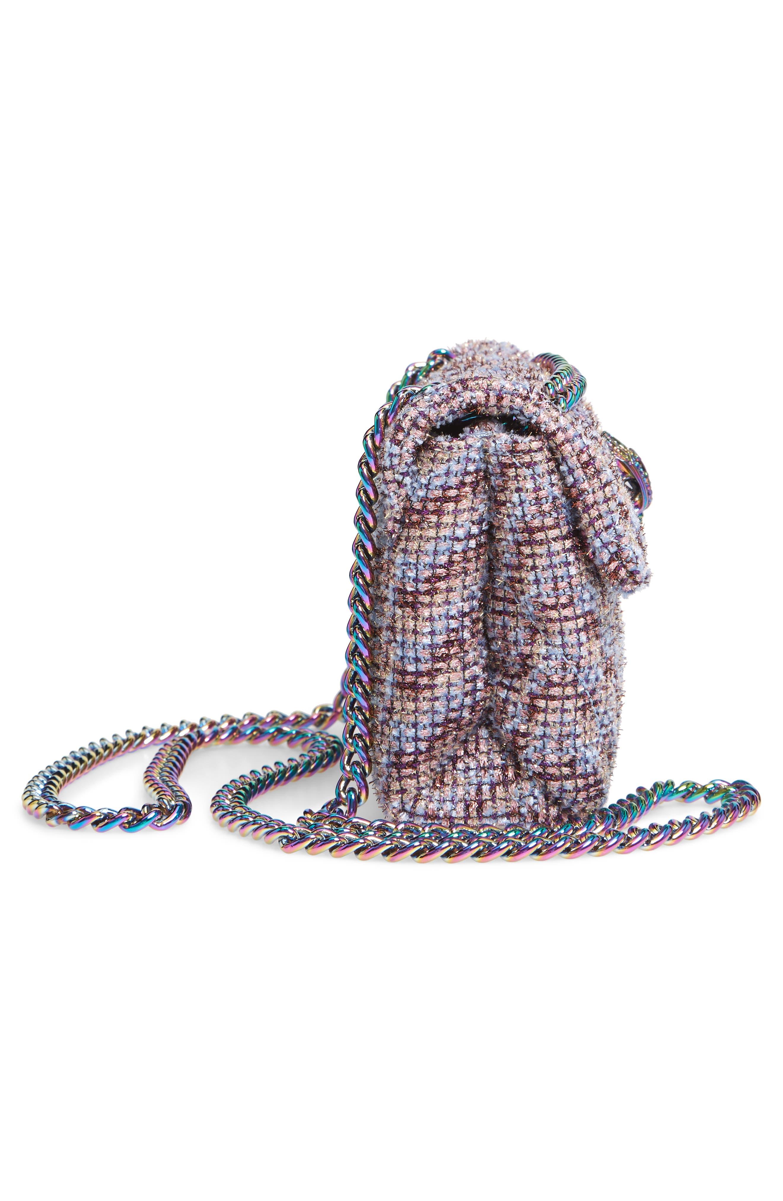 Mini Kensington Tweed Crossbody Bag,                             Alternate thumbnail 5, color,                             PINK