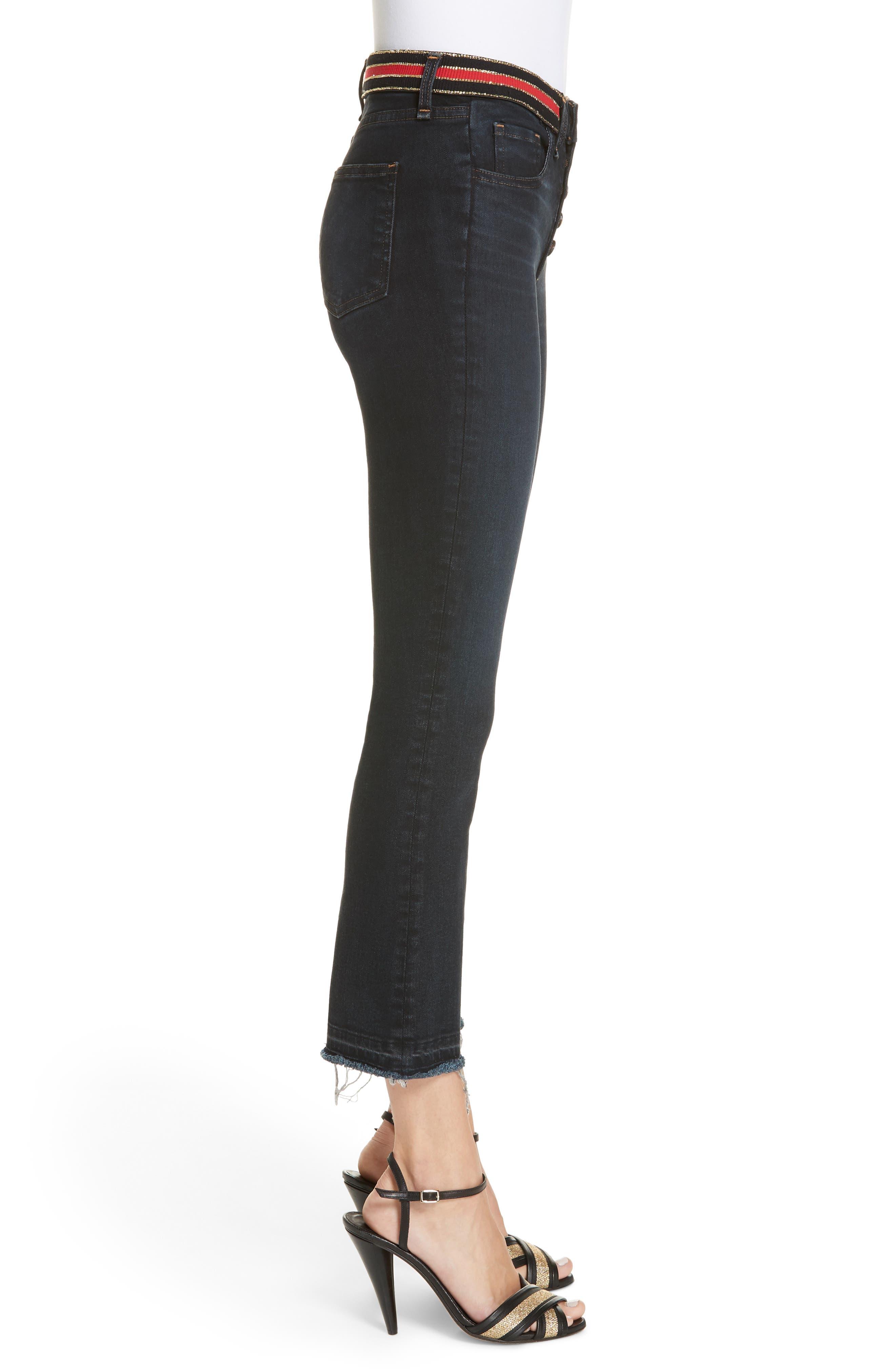 Carolyn Stripe Waist Crop Flare Jeans,                             Alternate thumbnail 3, color,                             DARK SLATE