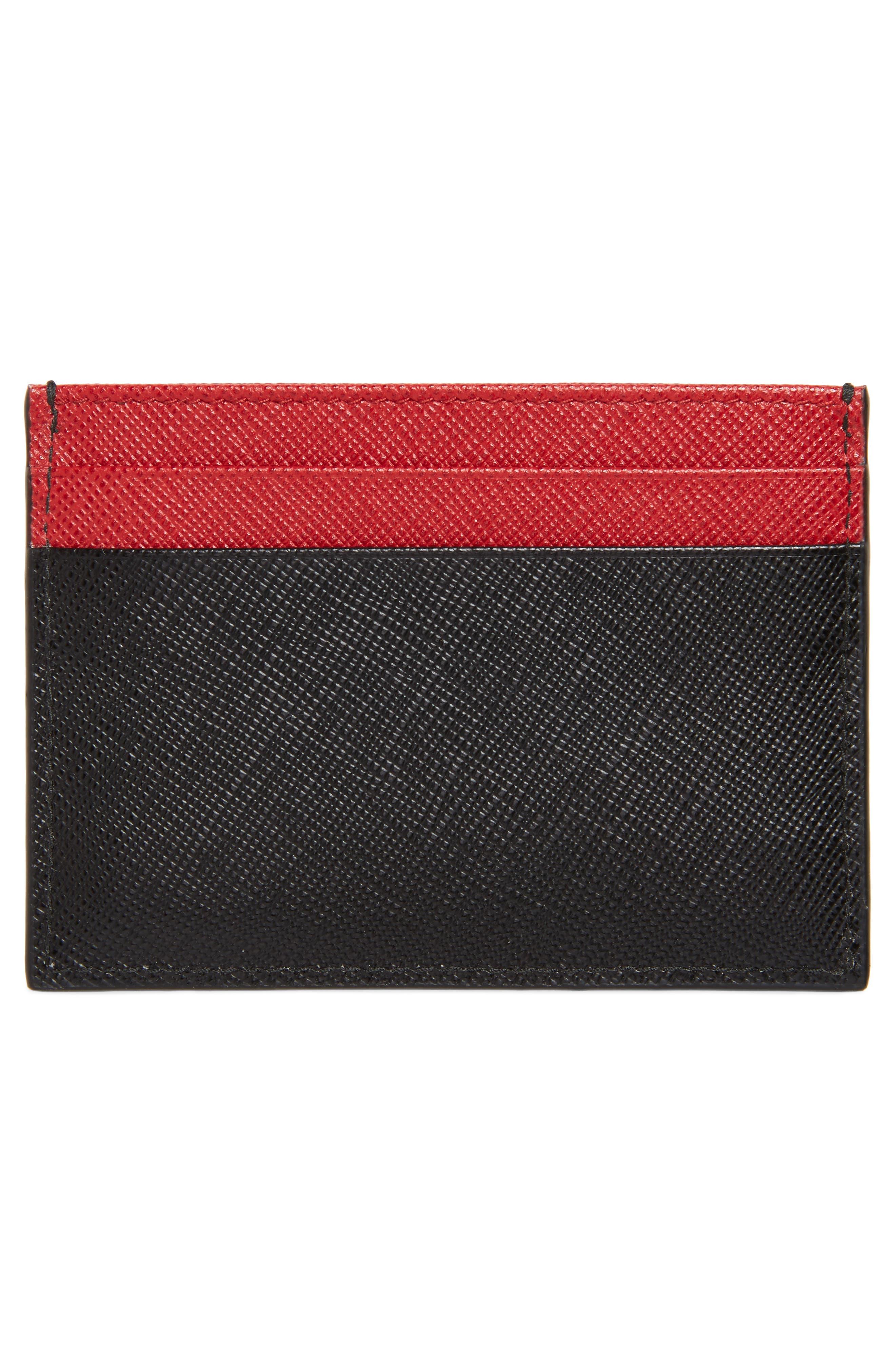 Bicolor Saffiano Leather Card Case,                             Alternate thumbnail 2, color,                             BLACK/ RED