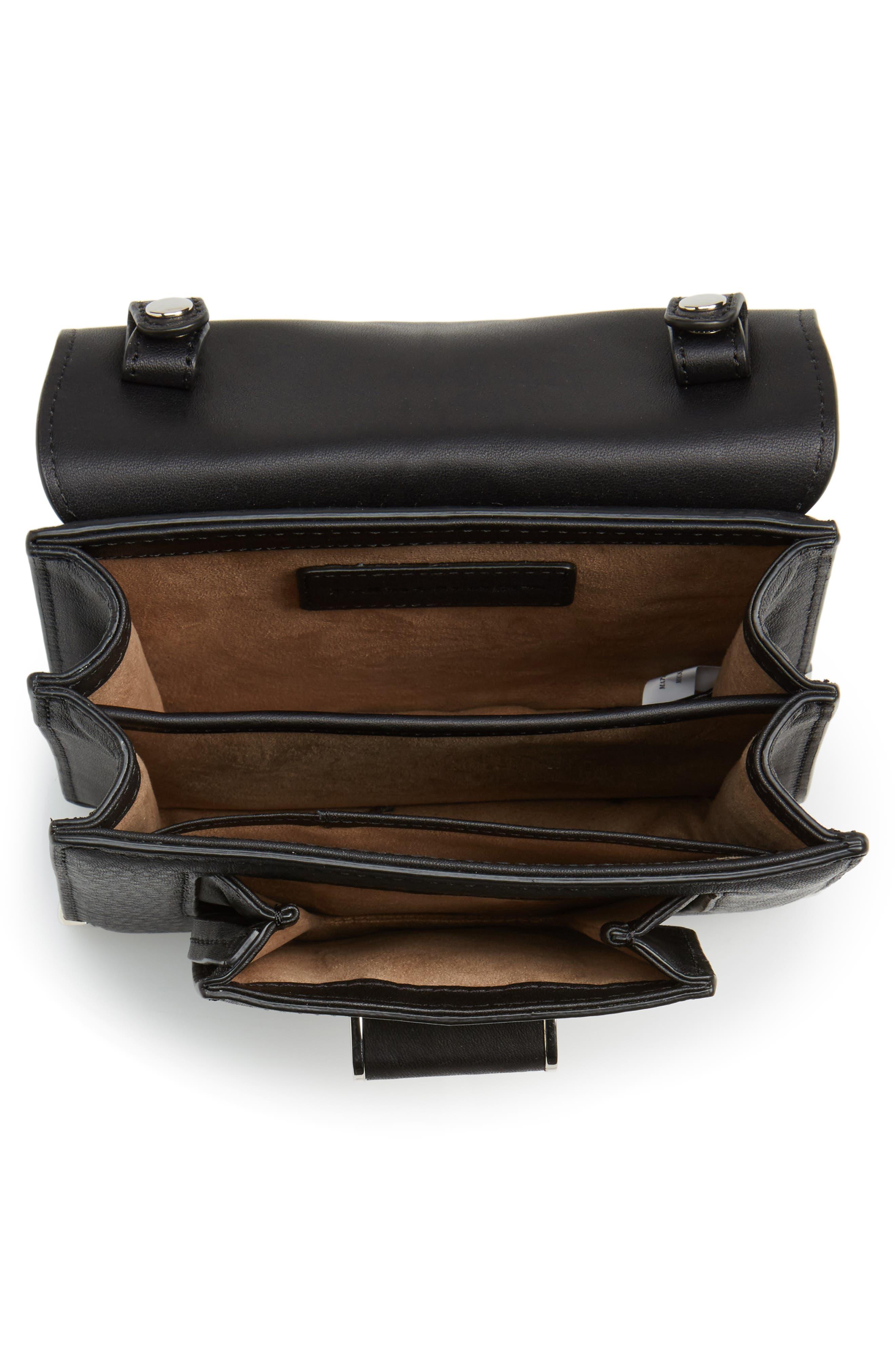 Mini Rubie Leather Crossbody Bag,                             Alternate thumbnail 4, color,                             001