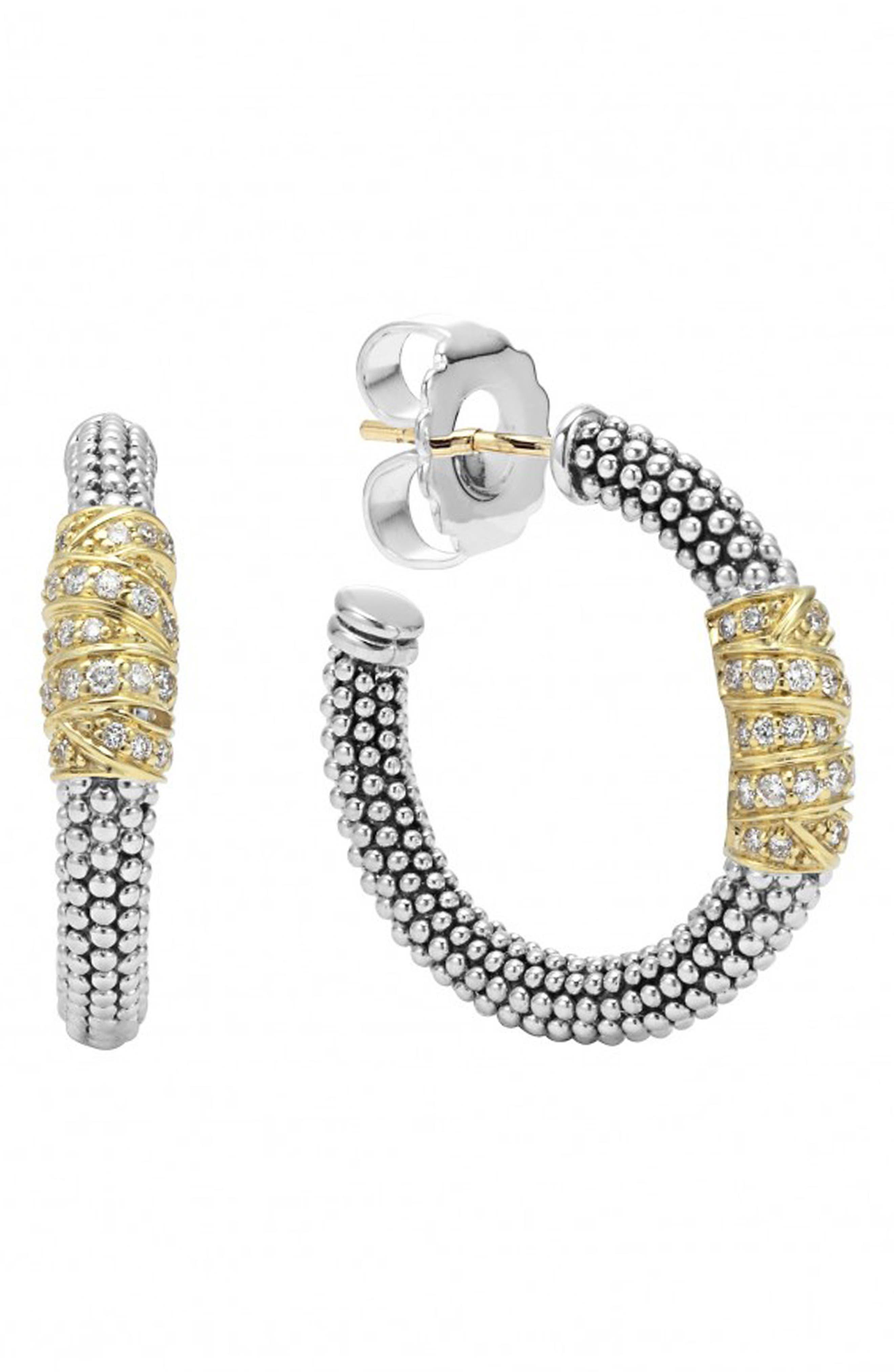 'Embrace' Caviar Diamond Hoop Earrings,                             Alternate thumbnail 4, color,                             STERLING SILVER/ GOLD