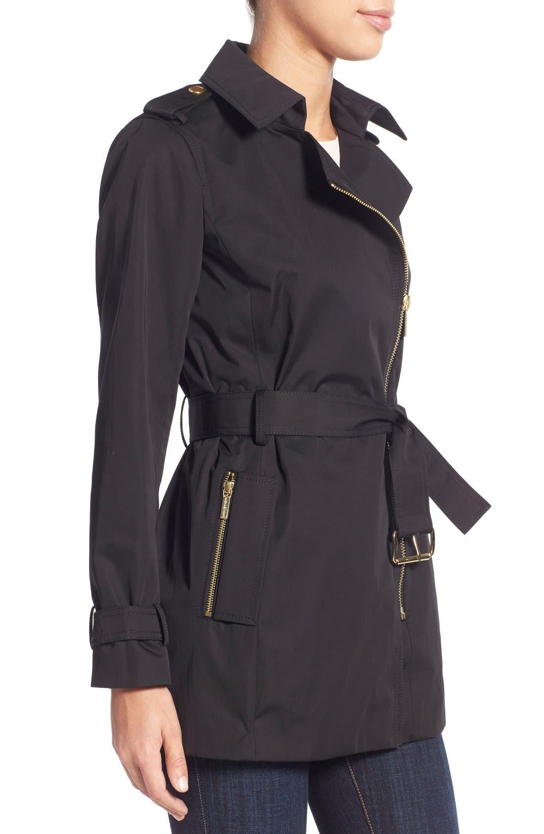 MICHAEL MICHAEL KORS,                             Asymmetrical Zip Sateen Trench Coat,                             Alternate thumbnail 5, color,                             001