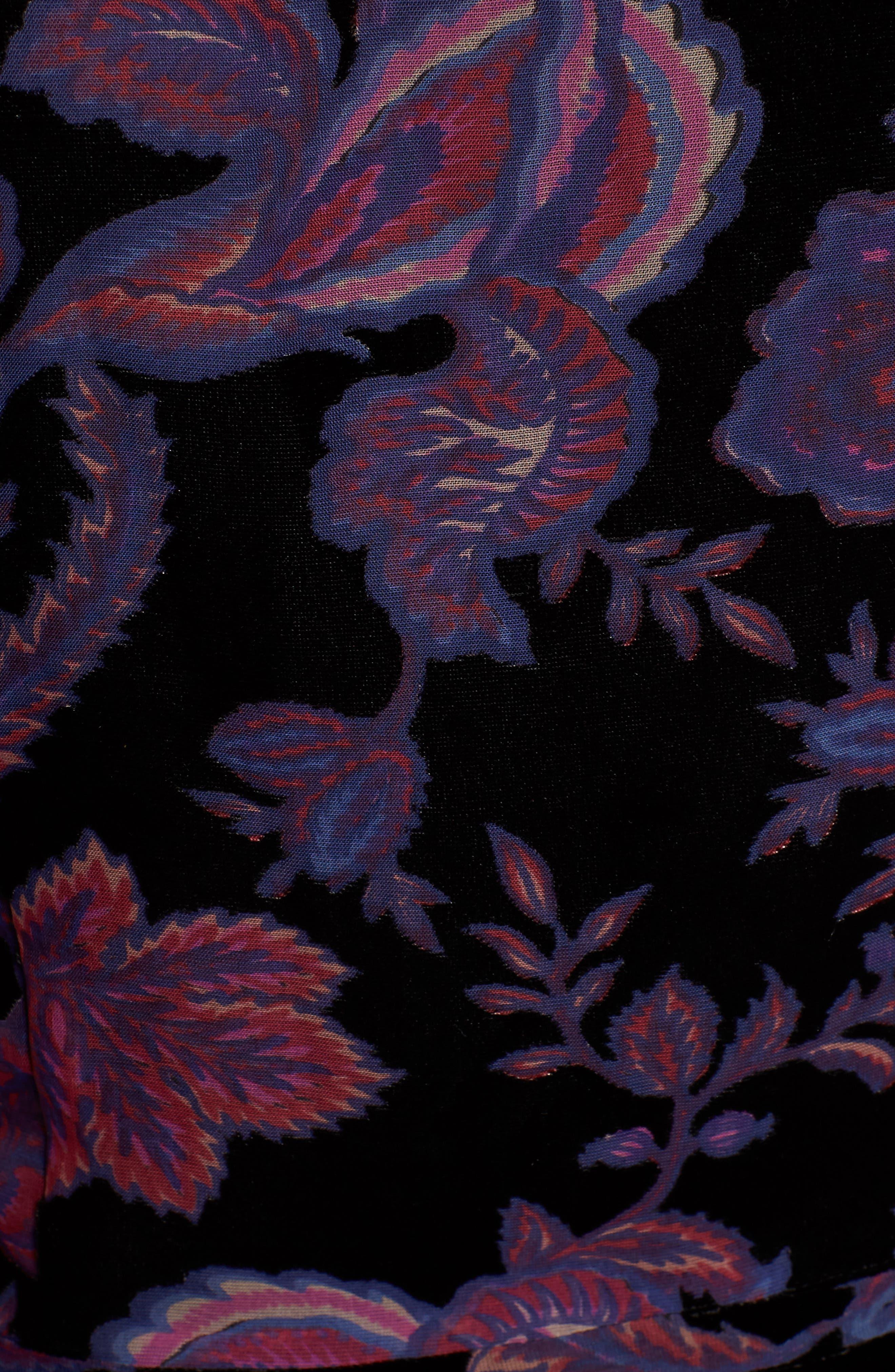 Arlette Floral Velvet Dress,                             Alternate thumbnail 6, color,                             BLACK MULTI