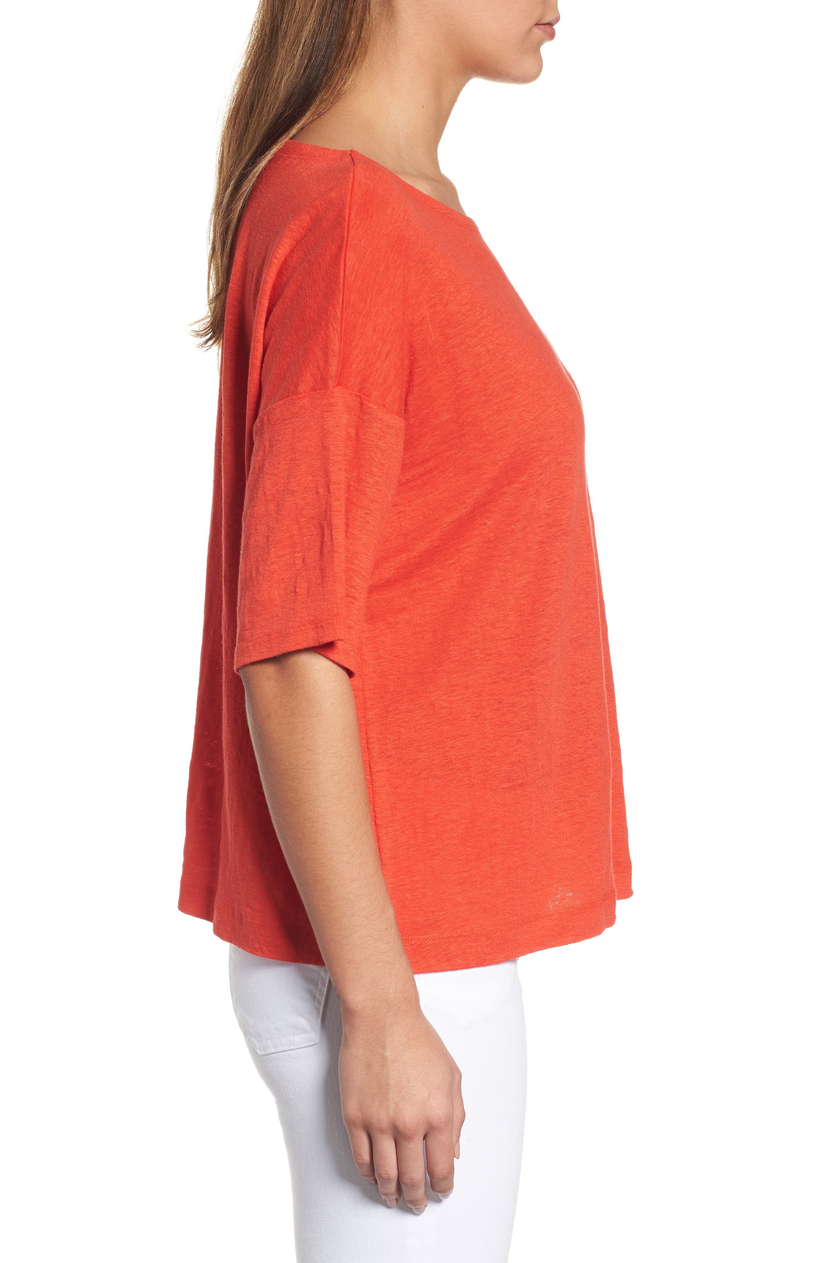 Organic Linen Jersey Boxy Top,                             Alternate thumbnail 20, color,