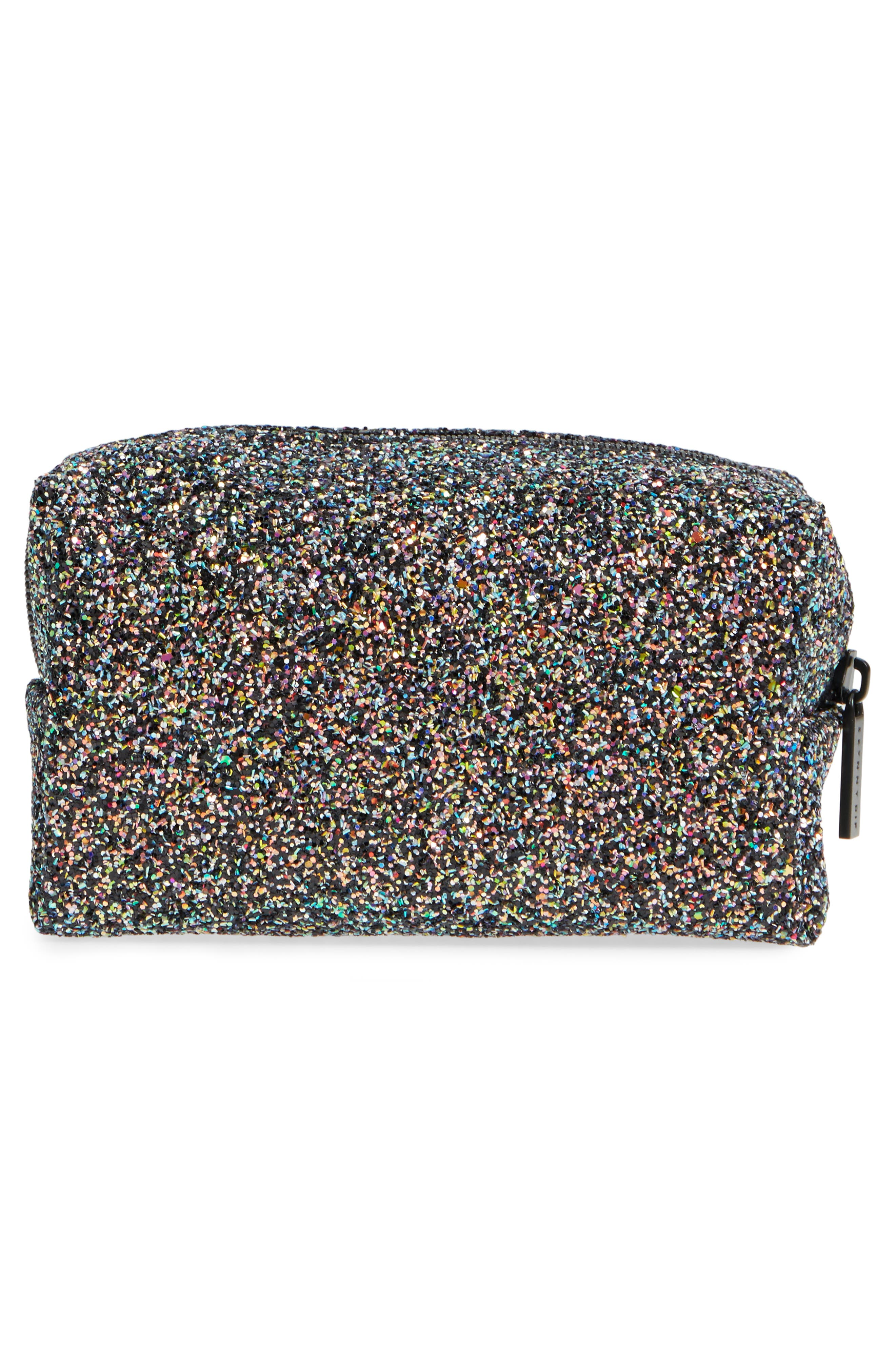 Skinny Dip Liquorice Glitter Cosmetics Bag,                             Alternate thumbnail 2, color,                             000