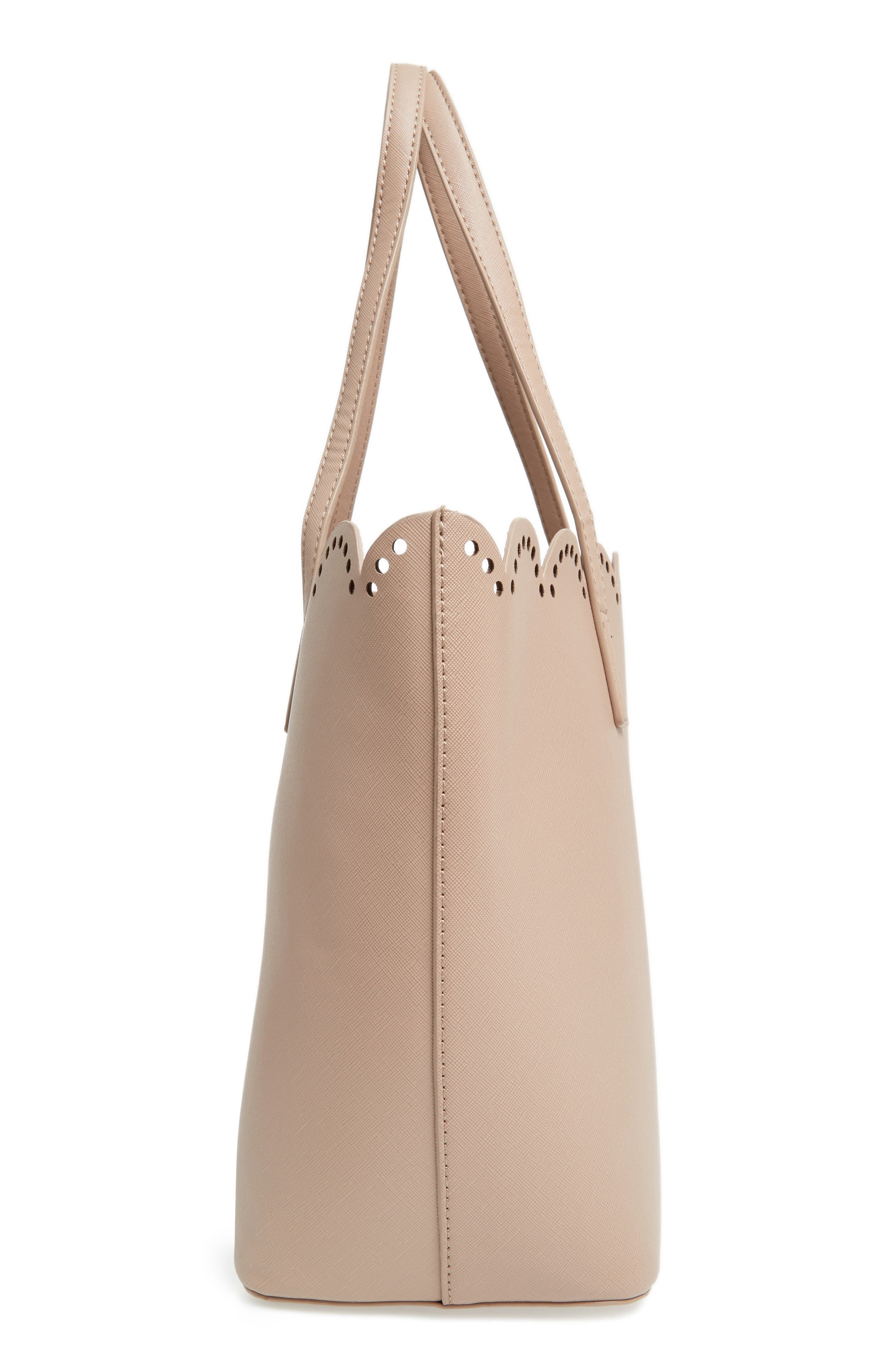Scalloped Faux Leather Tote,                             Alternate thumbnail 36, color,