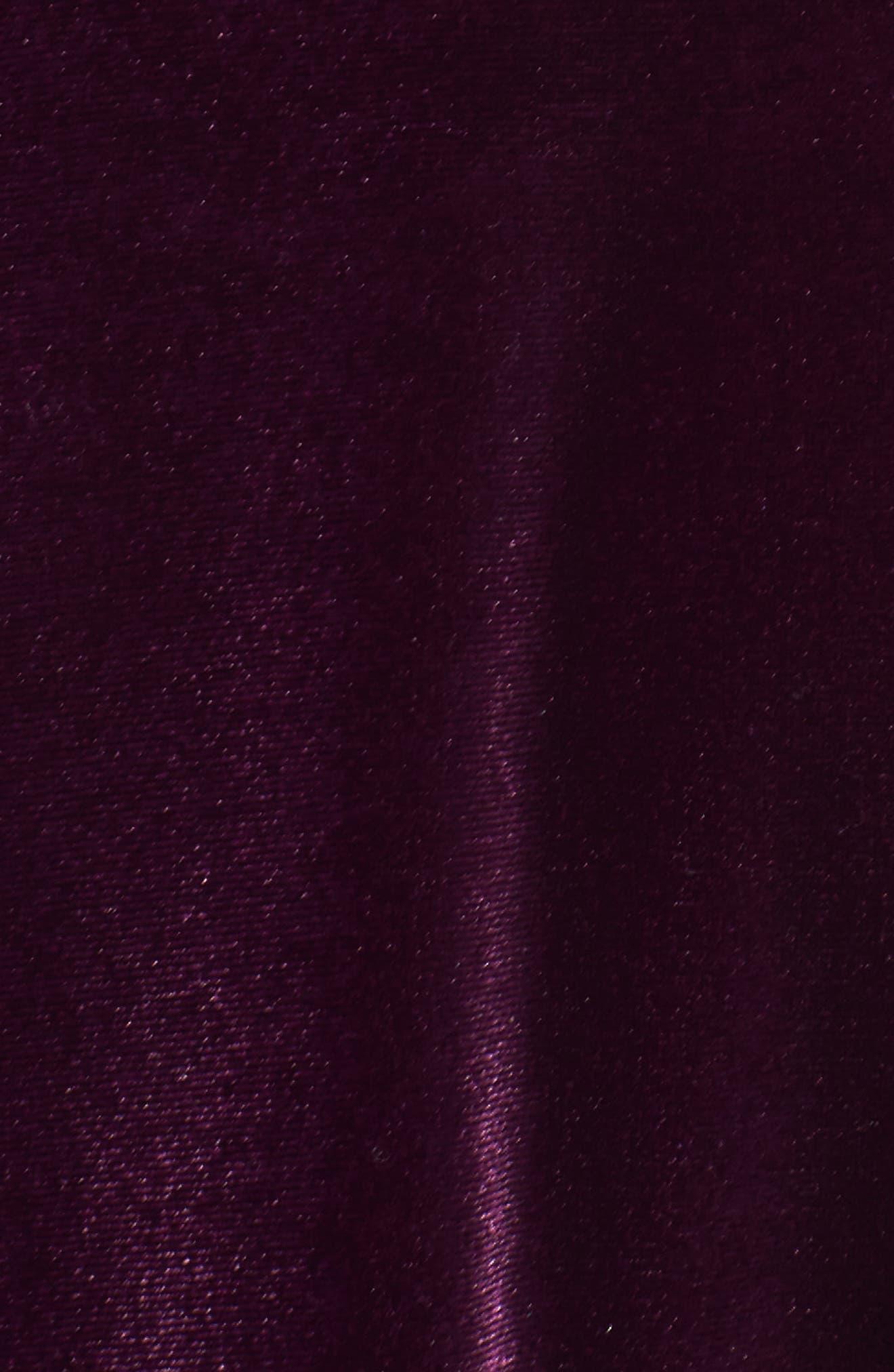 High Neck Lace & Velvet Cocktail Dress,                             Alternate thumbnail 5, color,                             572