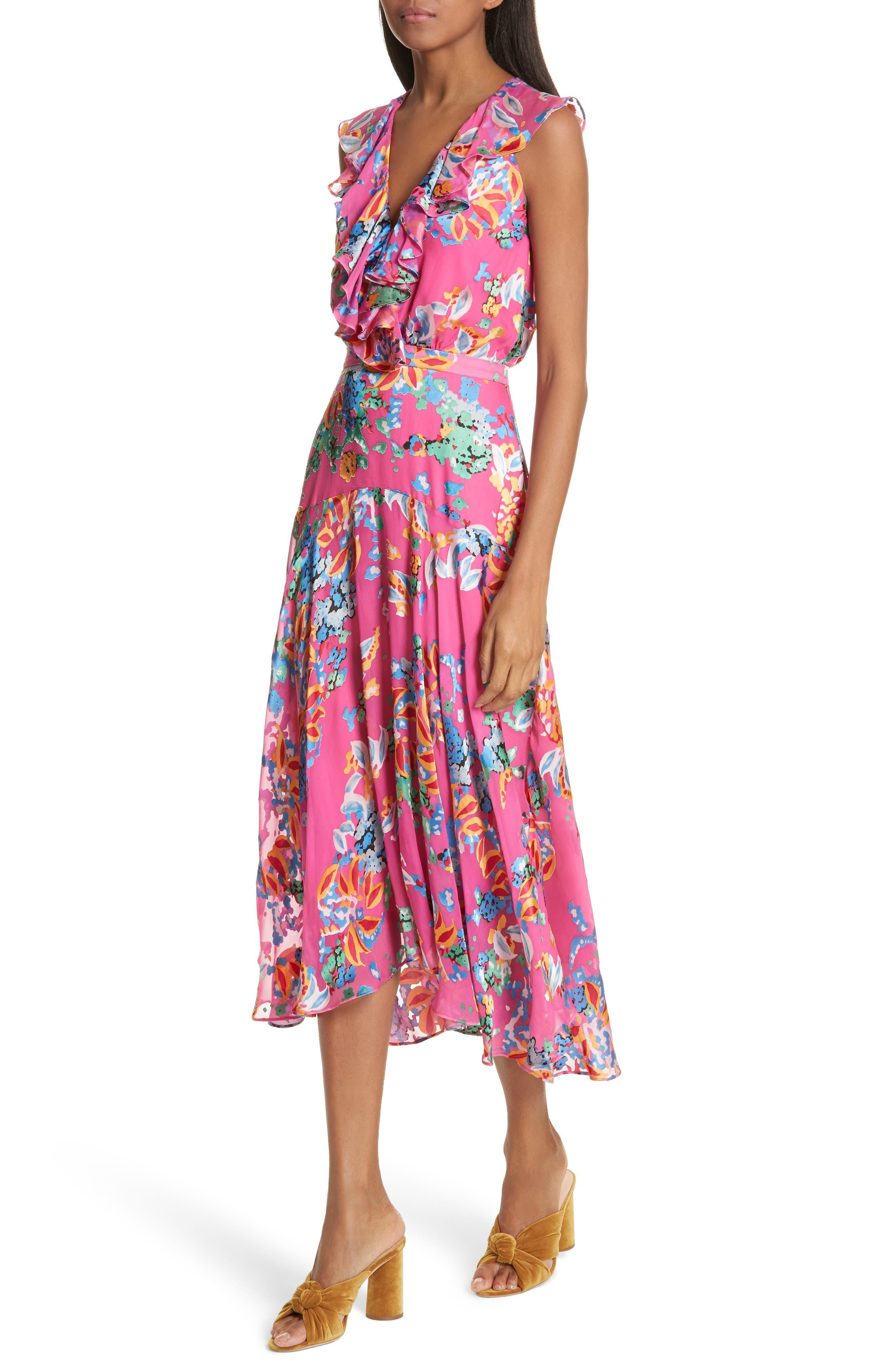 Rita Ruffle Dress,                             Alternate thumbnail 4, color,                             PINK BEGONIA