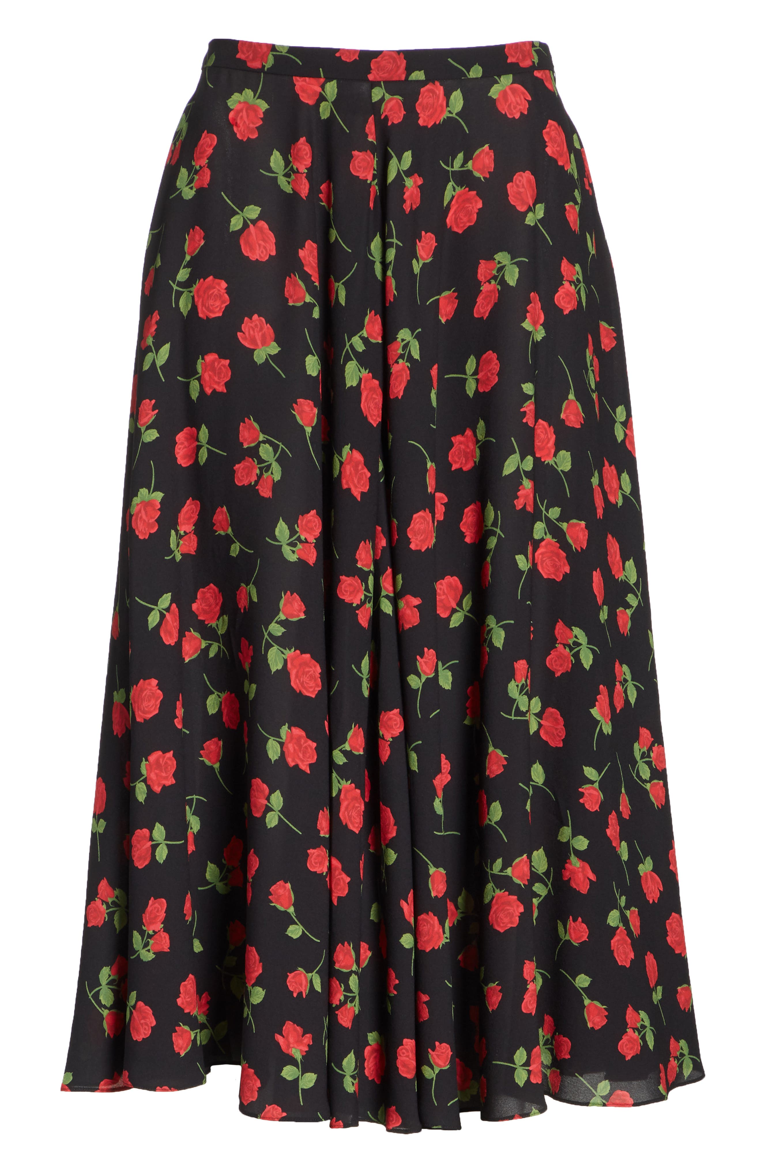 Rose Print Silk Georgette Dance Skirt,                             Alternate thumbnail 6, color,                             CRIMSON