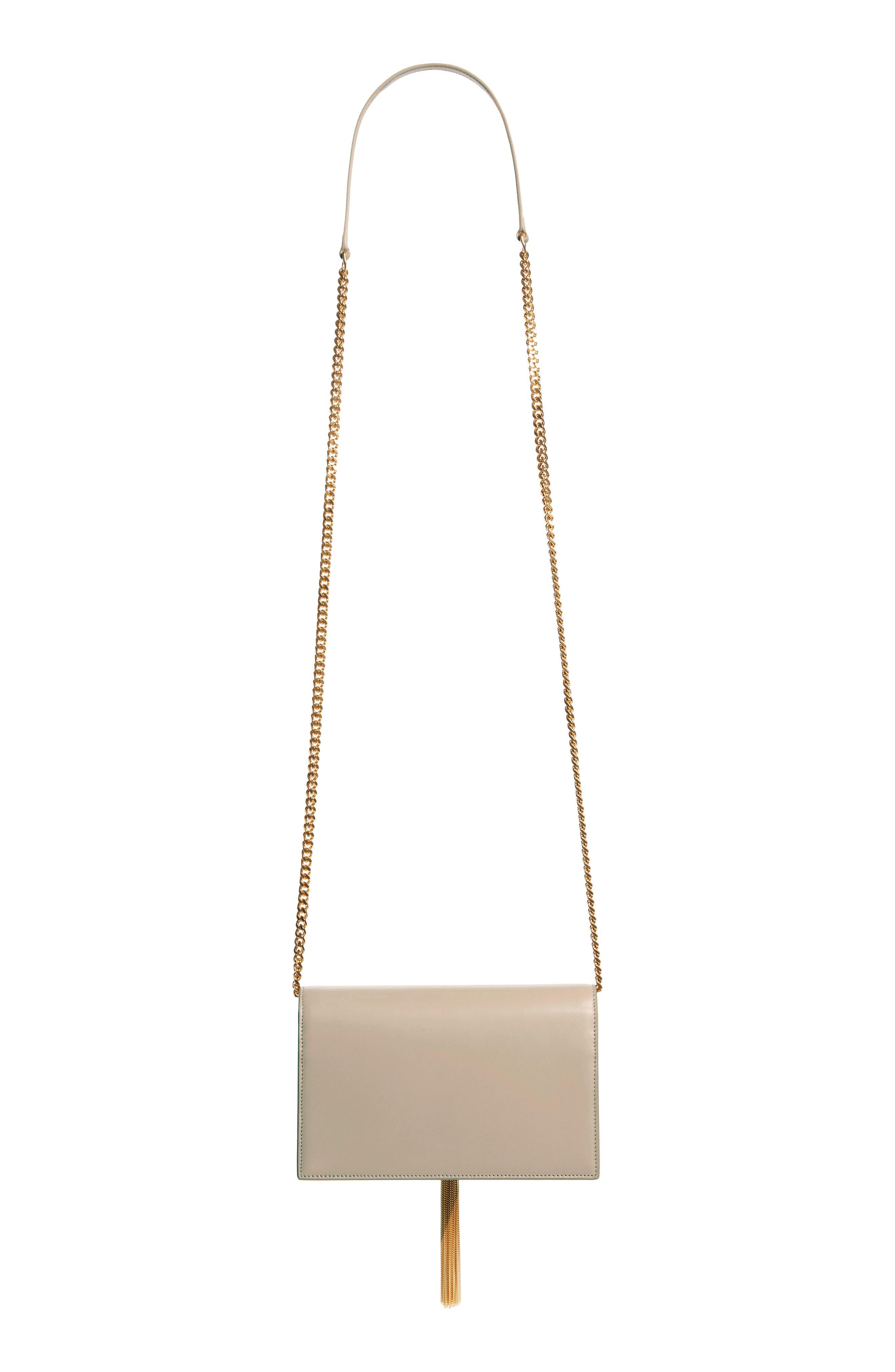 SAINT LAURENT,                             Small Monogram Calfskin Leather Wallet on a Chain,                             Alternate thumbnail 3, color,                             LIGHT NATURAL
