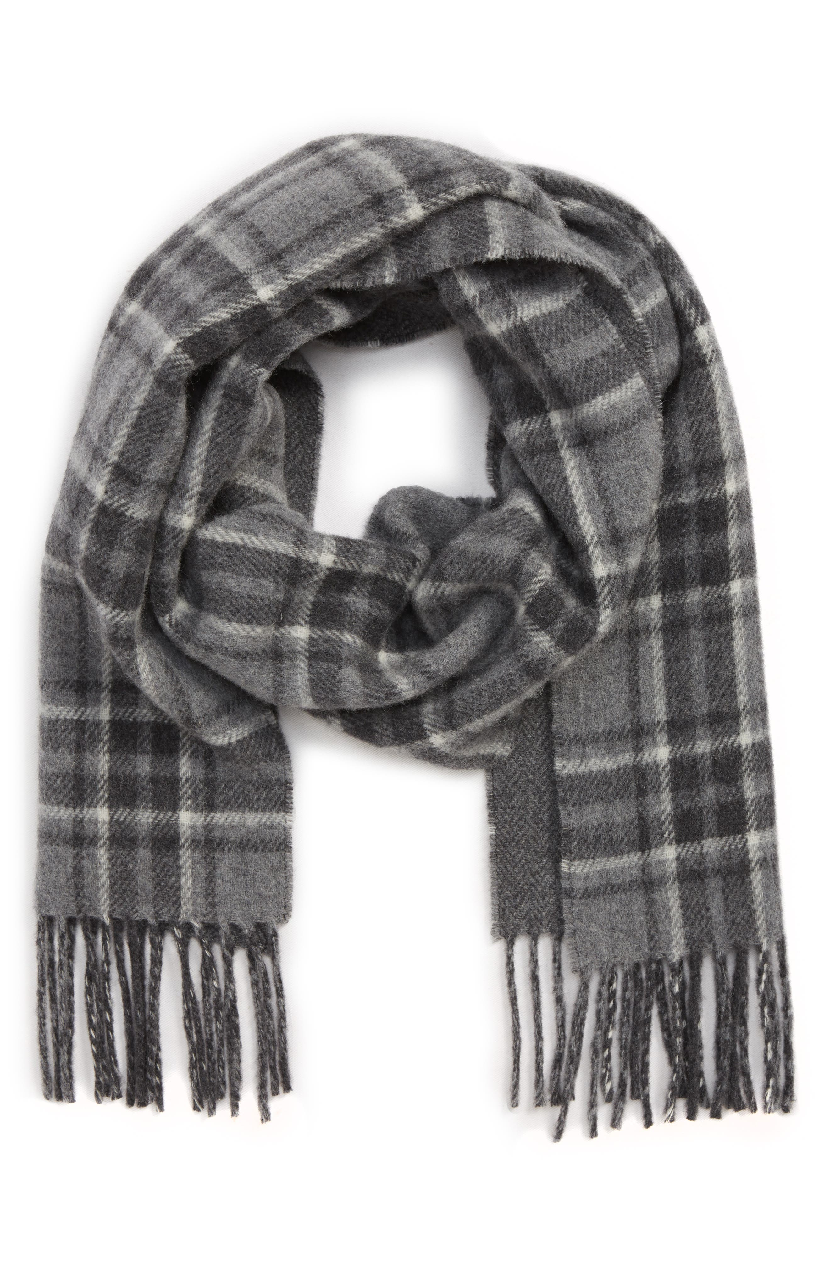Reversible Stable Plaid Wool Blend Scarf,                             Main thumbnail 1, color,                             GENTS HEATHER